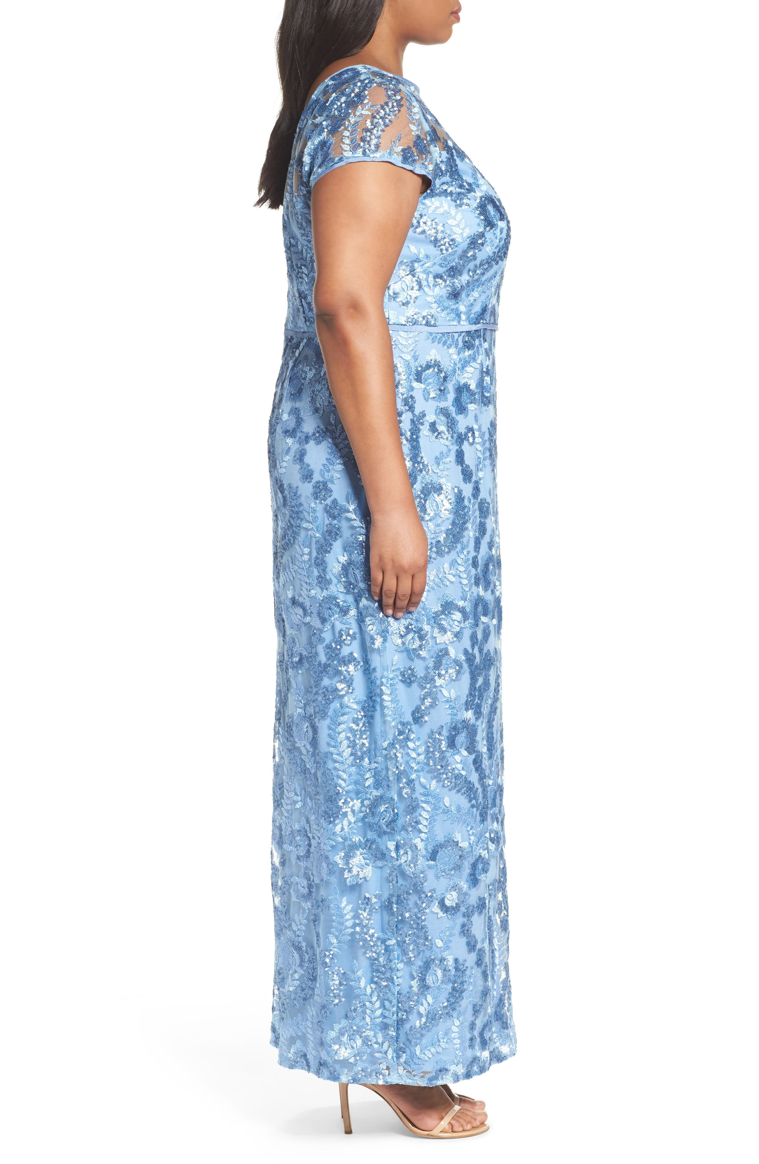 Sequin Embroidered Sheath Gown,                             Alternate thumbnail 3, color,                             SLATE BLUE