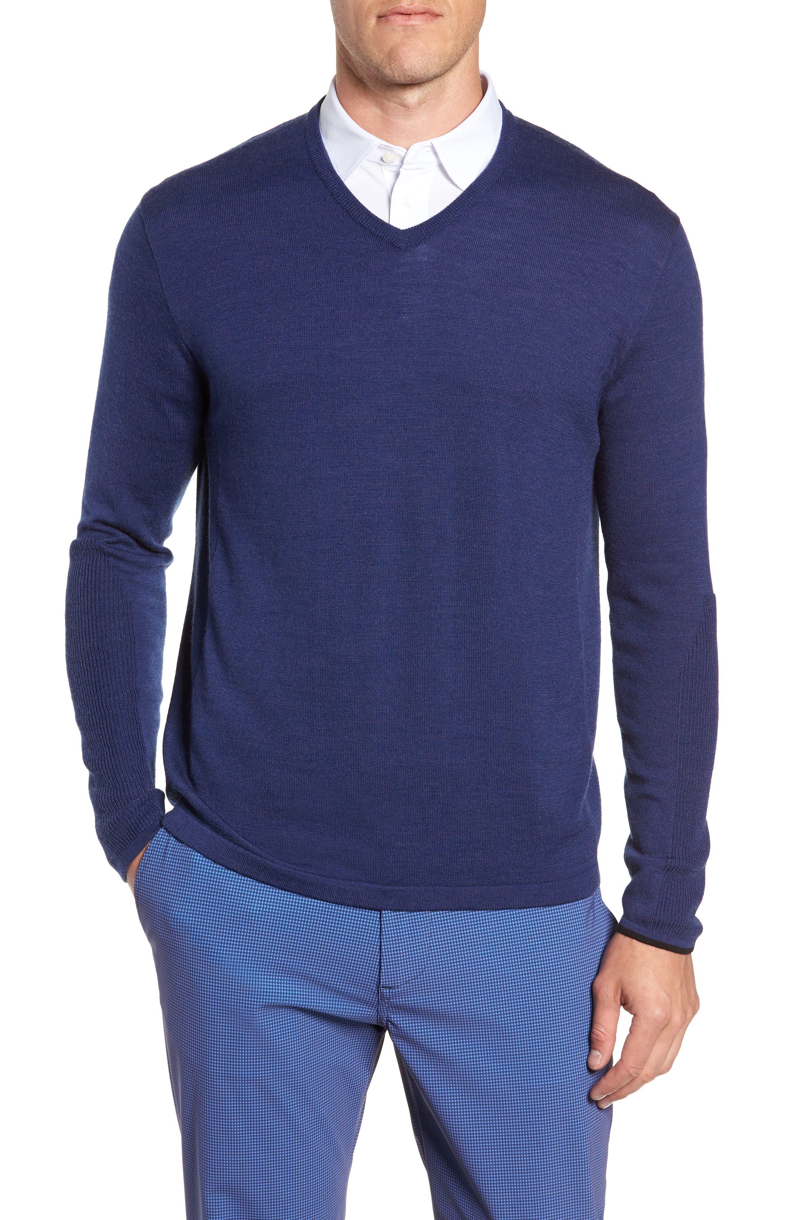 GREYSON Guide Merino Wool Blend V-Neck Sweater in Indigo
