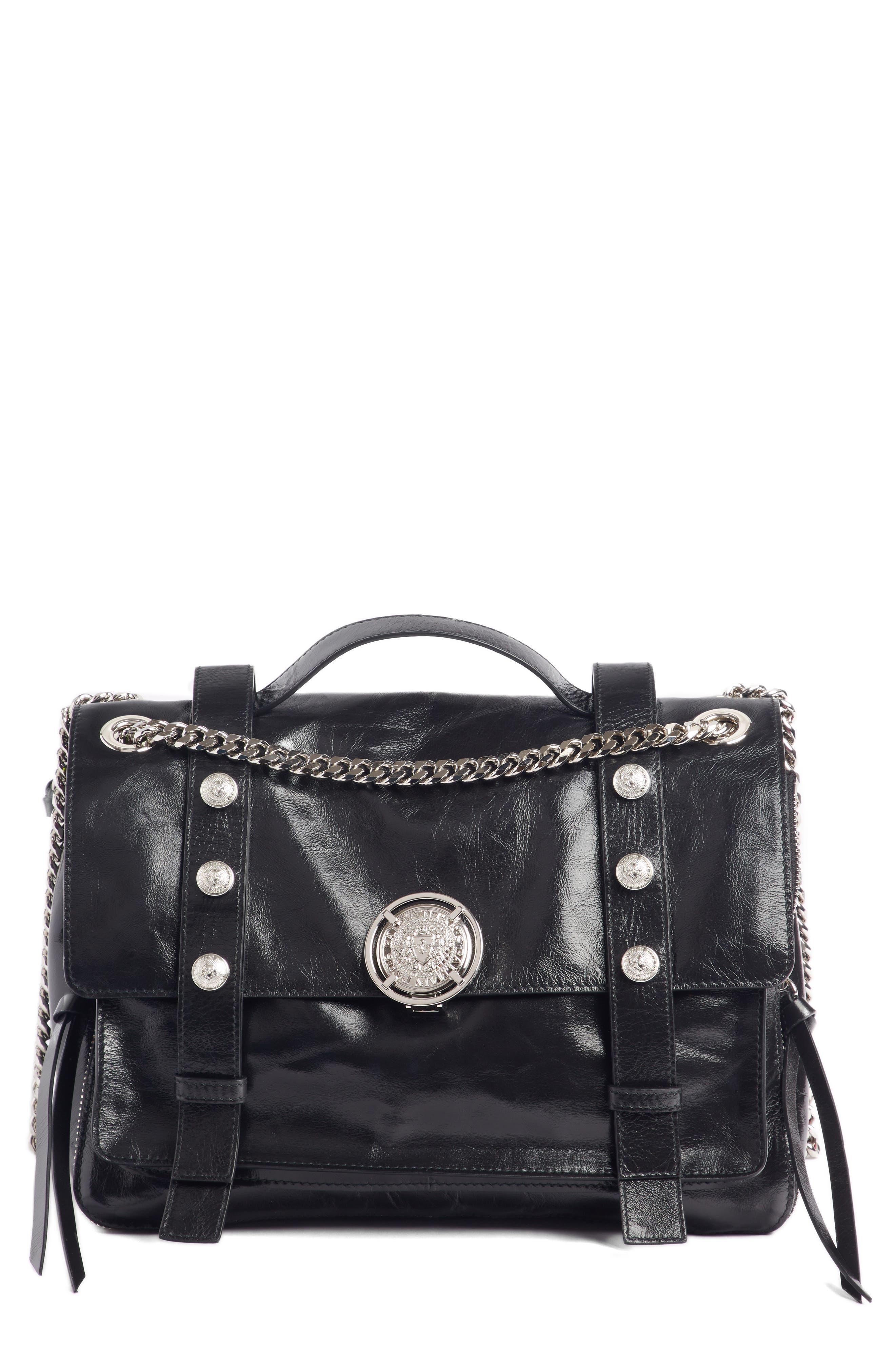 Studded Calfskin Leather Shoulder Bag,                             Main thumbnail 1, color,                             001