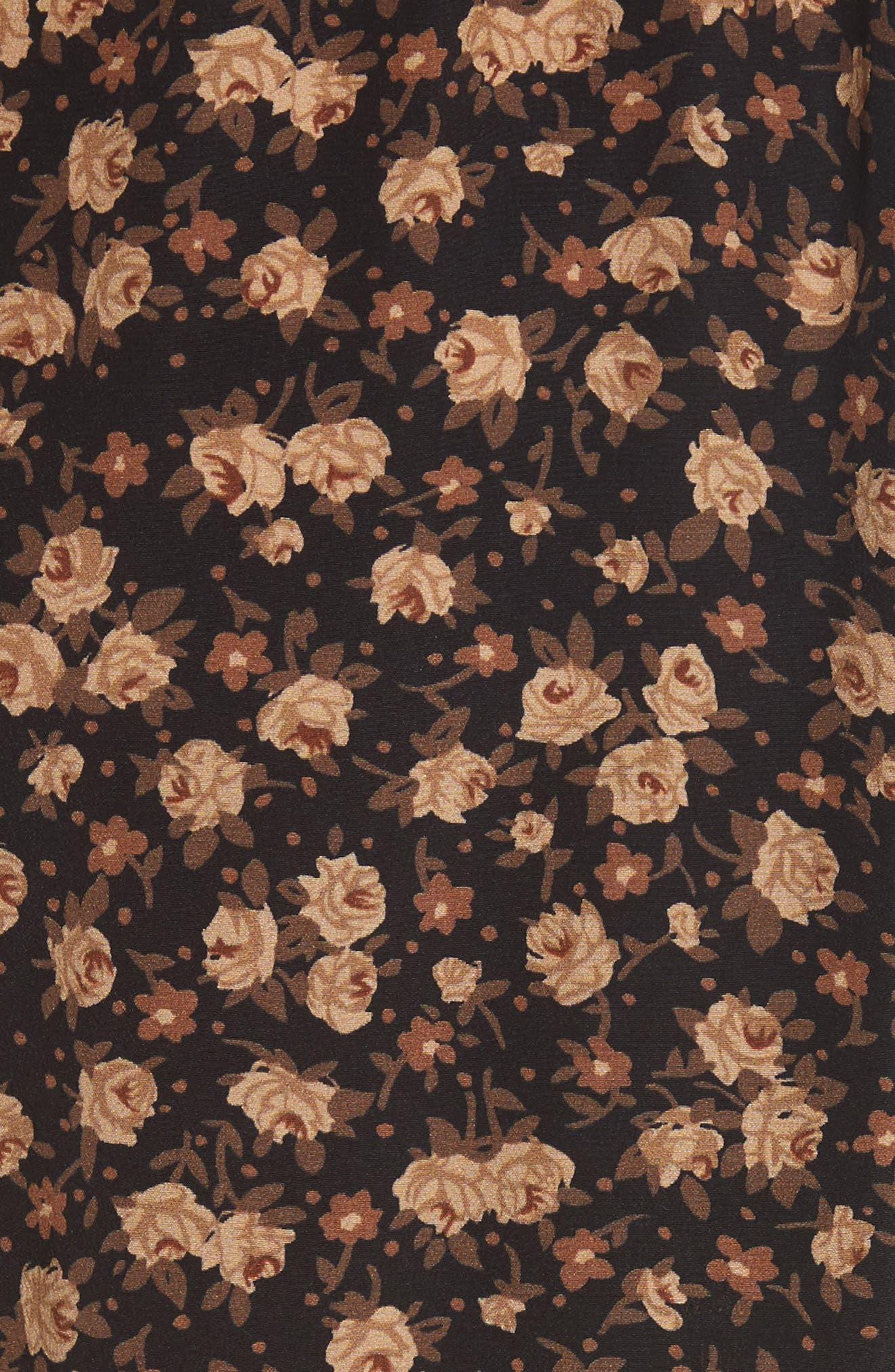 Dirndl Silk Floral Midi Skirt,                             Alternate thumbnail 6, color,                             007