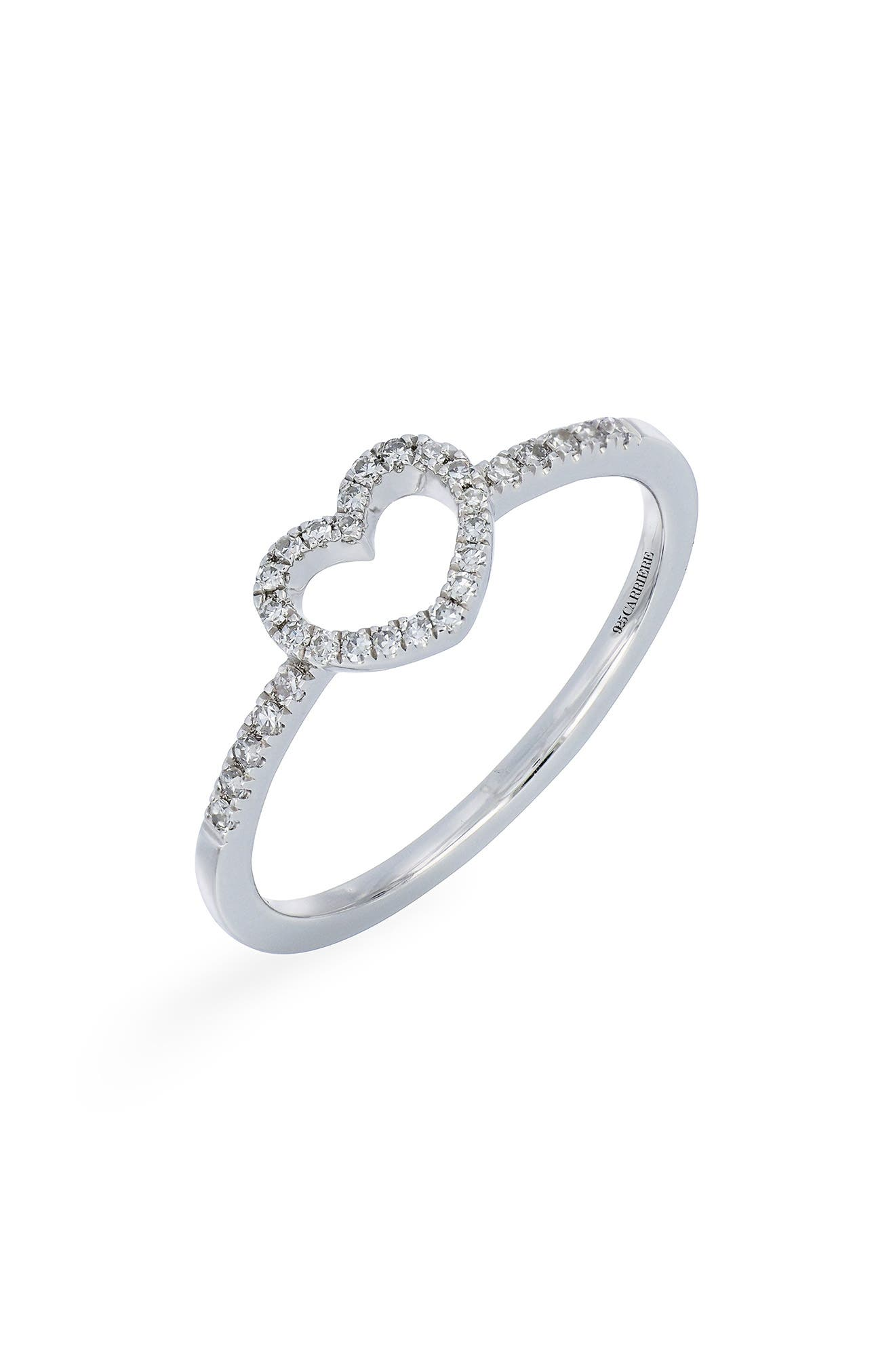 Carrière Open Heart Diamond Ring,                             Main thumbnail 1, color,                             STERLING SILVER/ DIAMOND