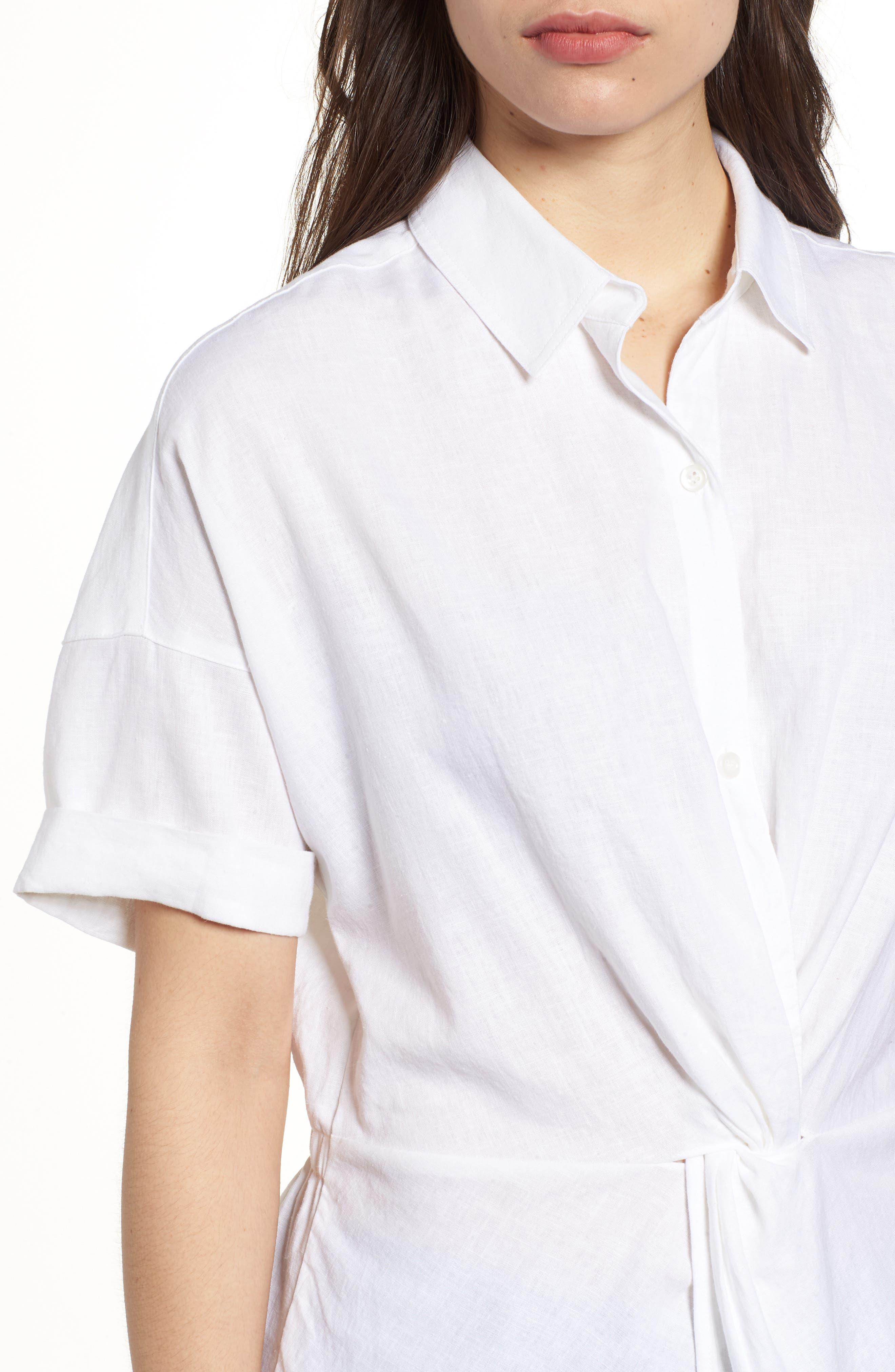 Twist Front Linen Blend Shirt,                             Alternate thumbnail 4, color,                             100