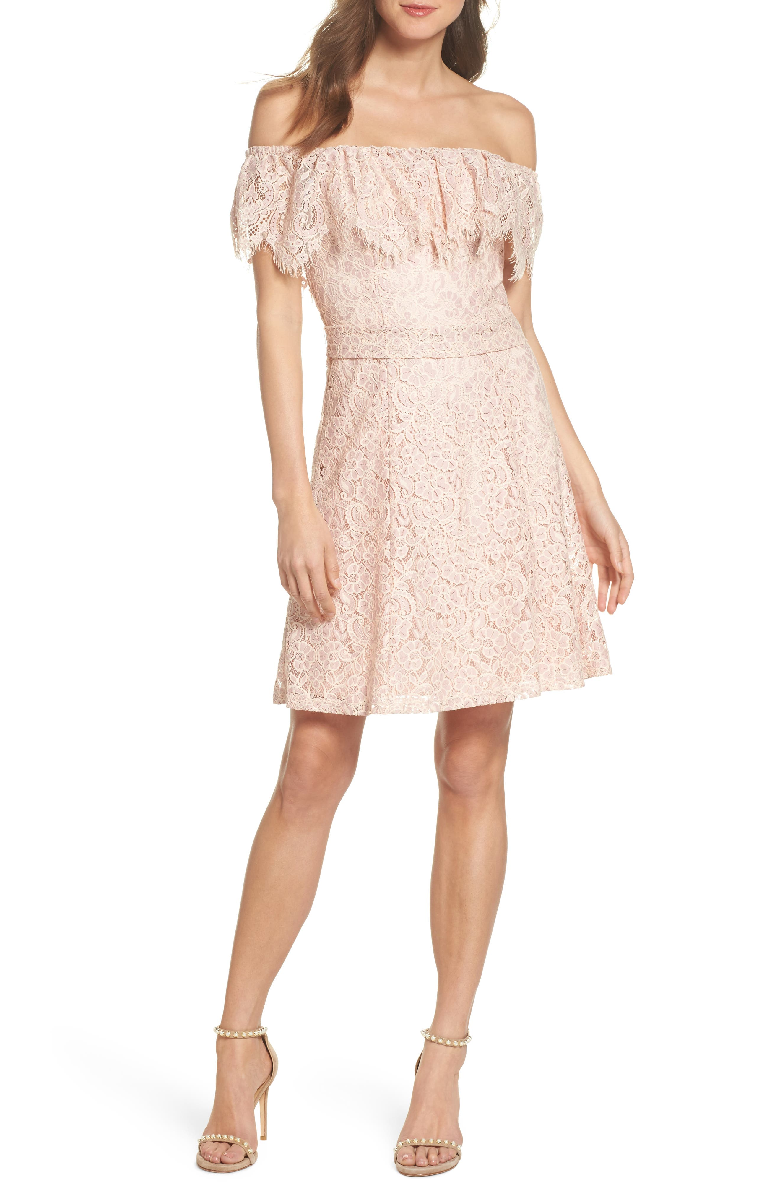Off the Shoulder Lace Dress,                             Main thumbnail 1, color,                             DUSTY PINK