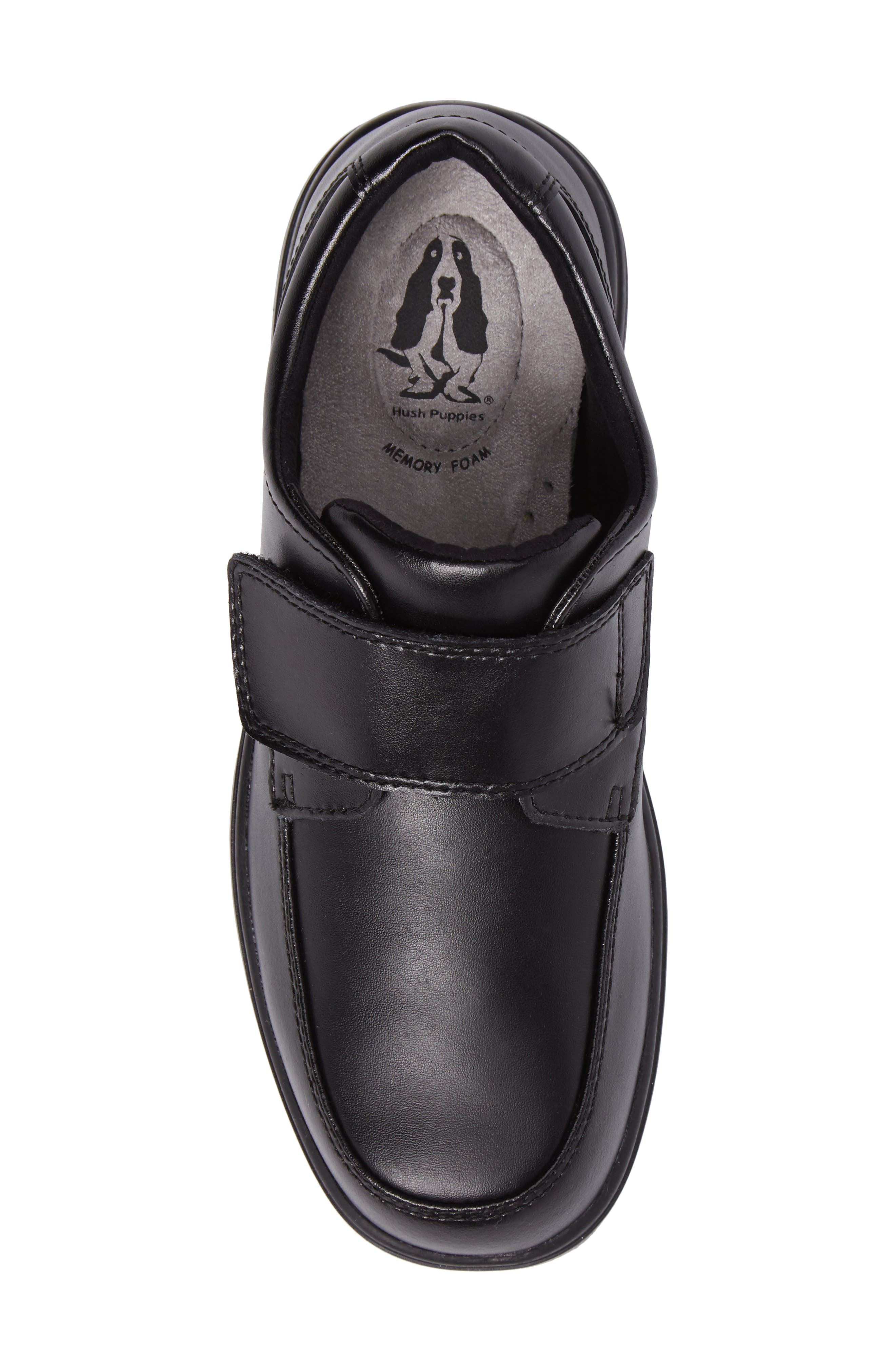 Hush Puppies Gavin Front Strap Dress Shoe,                             Alternate thumbnail 5, color,                             BLACK LEATHER
