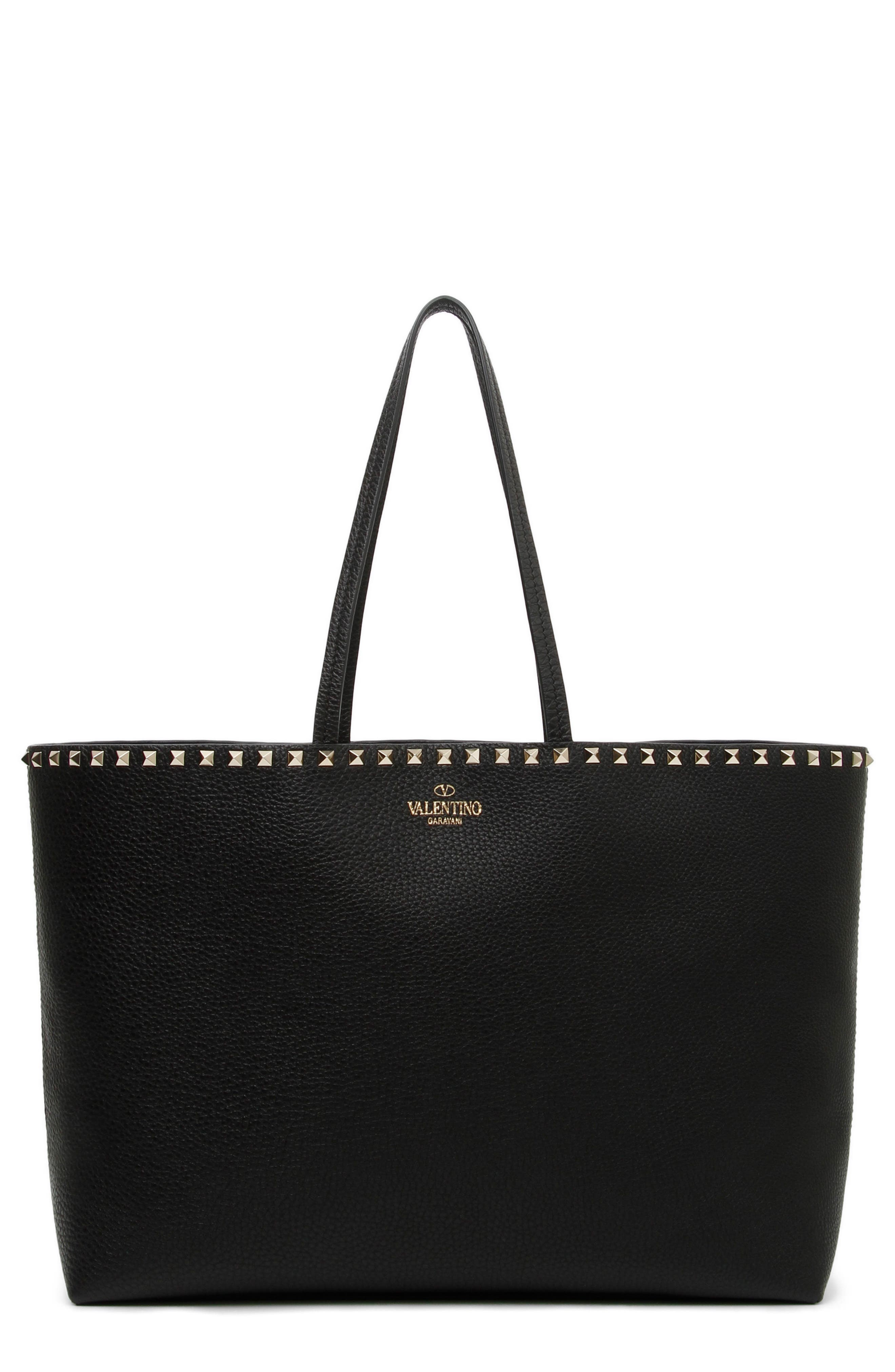 Rockstud Leather Tote,                             Main thumbnail 1, color,                             001