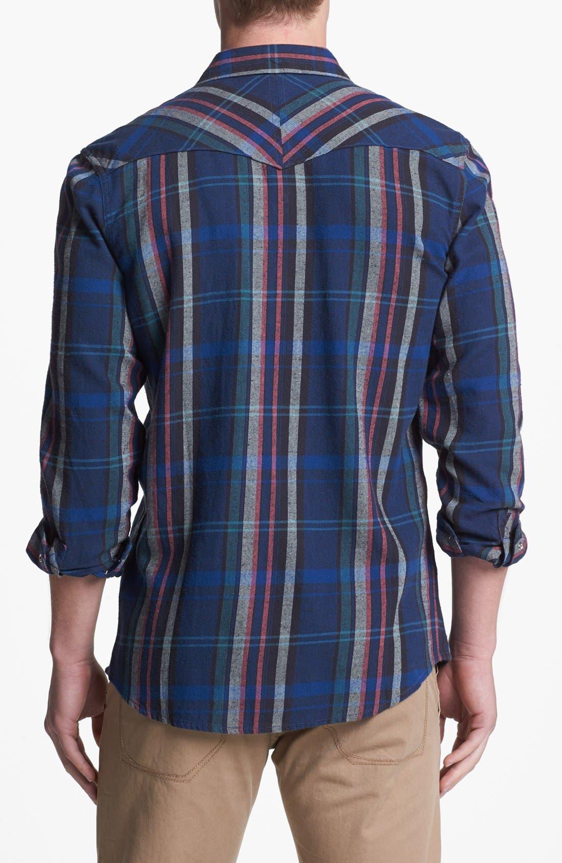 Plaid Flannel Western Shirt,                             Alternate thumbnail 2, color,                             001