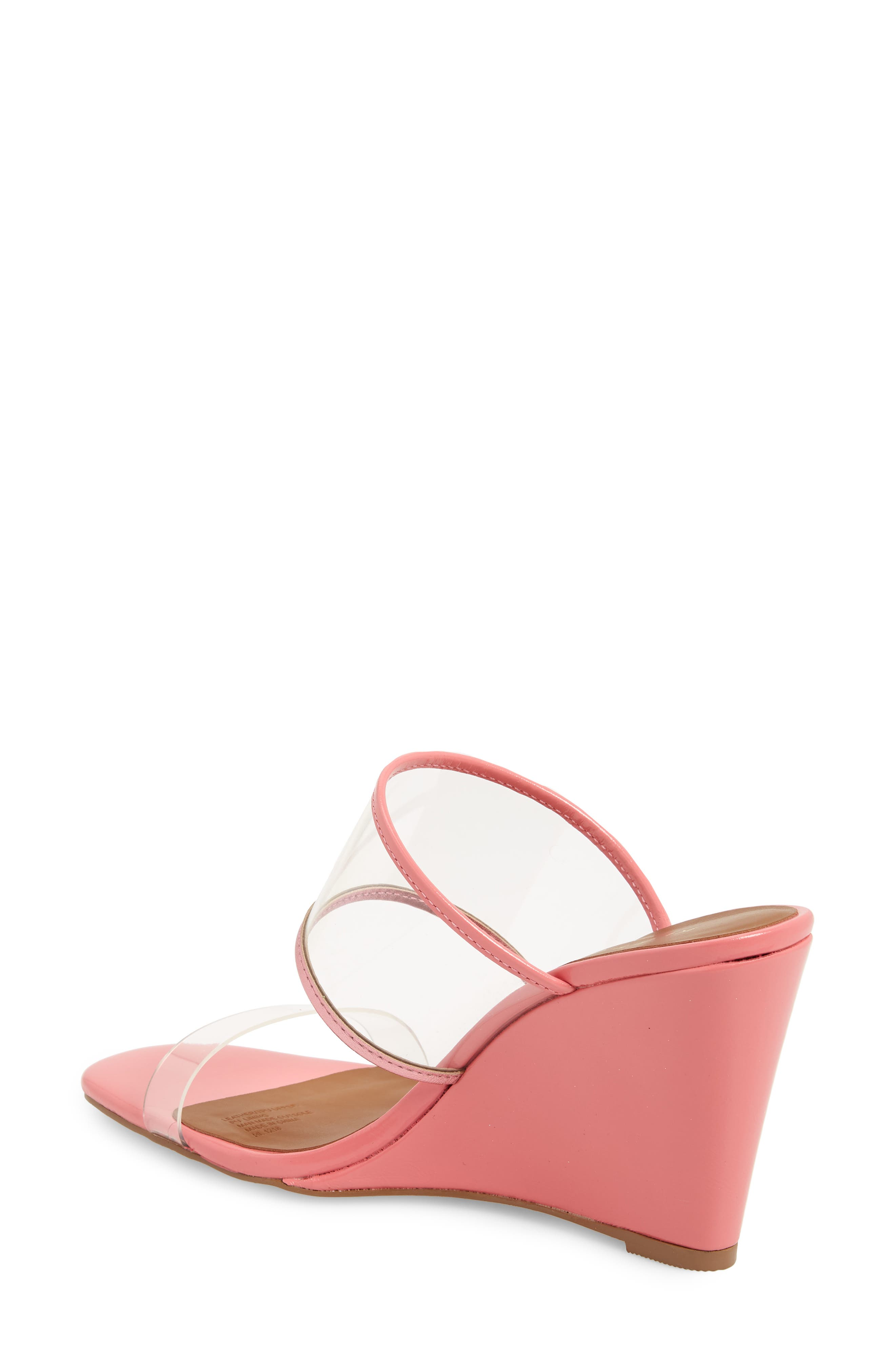 KURT GEIGER LONDON,                             Charing Wedge Slide Sandal,                             Alternate thumbnail 2, color,                             PINK FAUX LEATHER