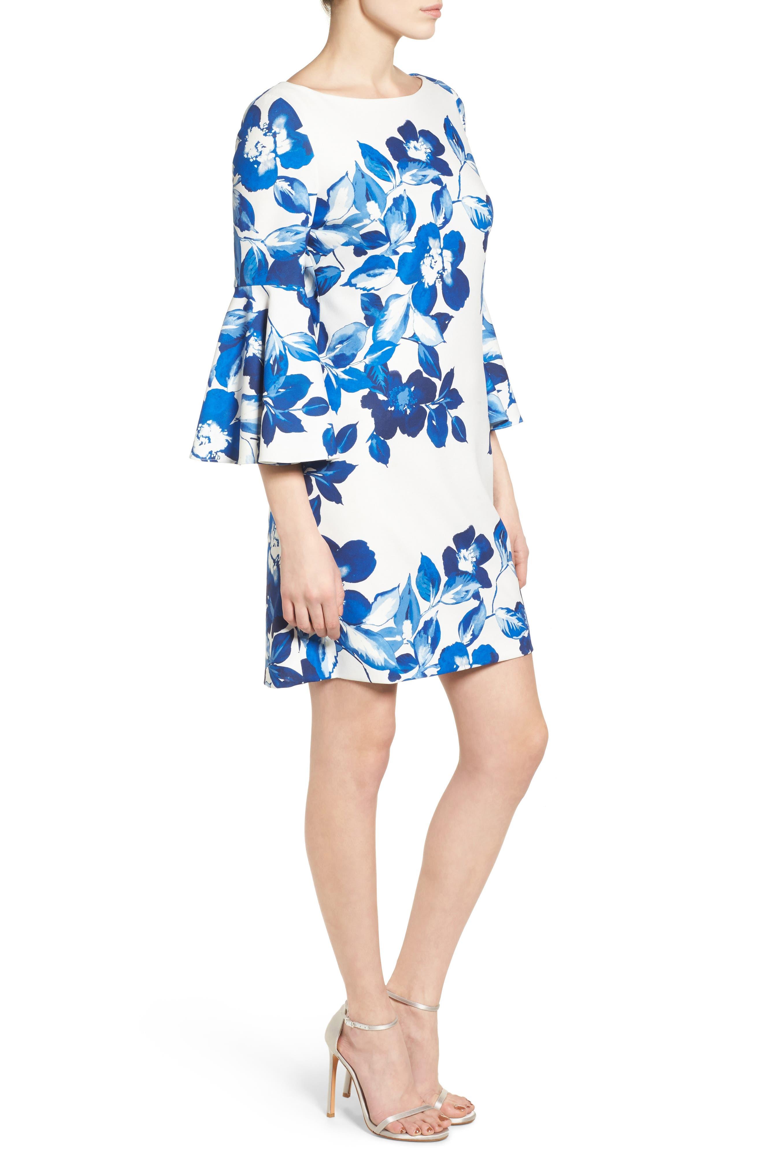 Floral Shift Dress,                             Alternate thumbnail 3, color,                             BLUE/ IVORY