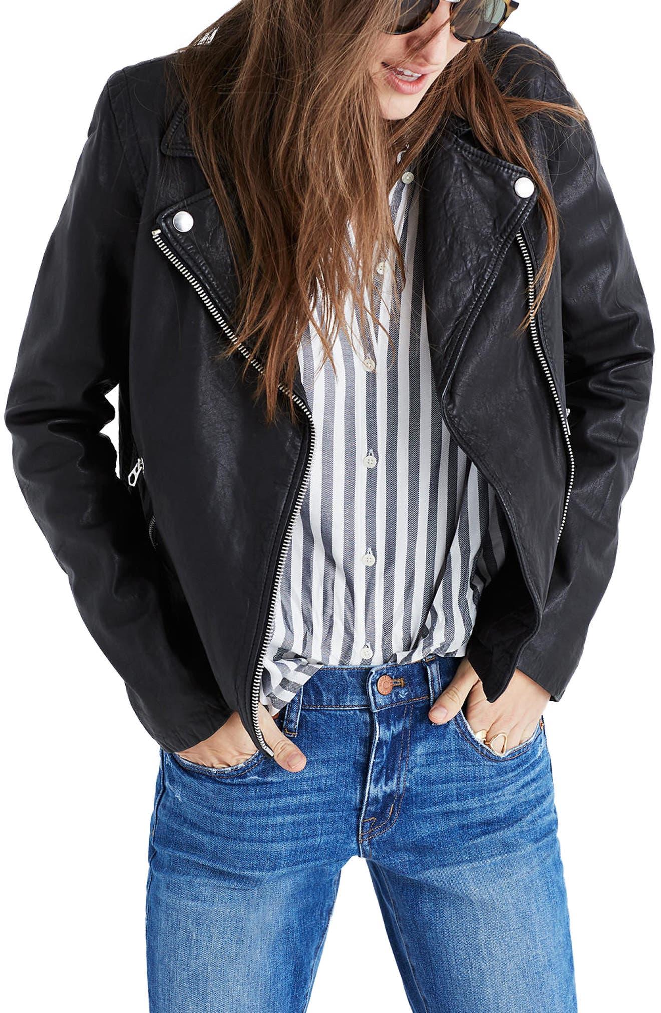 Washed Leather Moto Jacket,                             Alternate thumbnail 2, color,                             TRUE BLACK