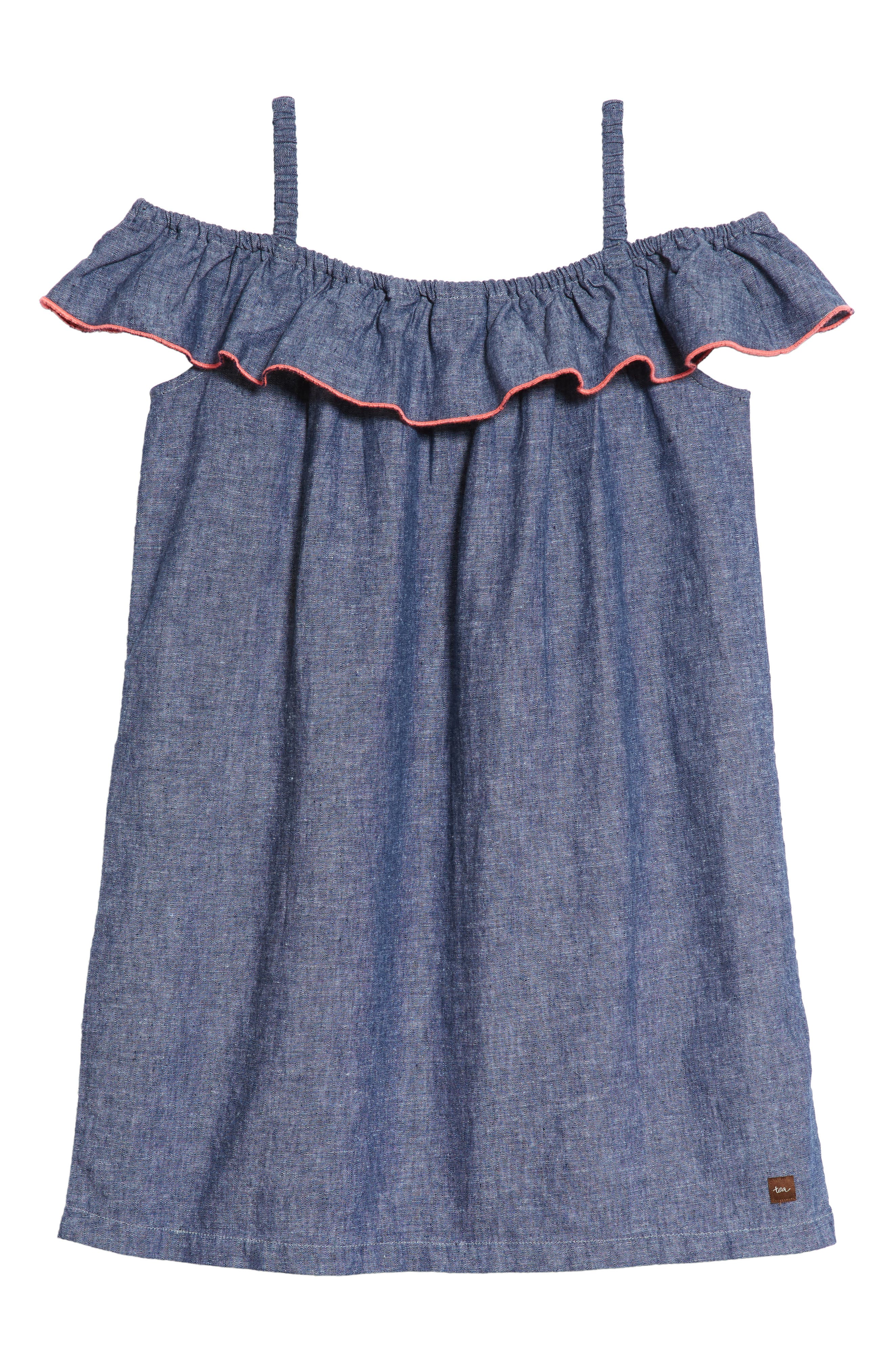 Chambray Ruffle Neck Dress,                             Alternate thumbnail 2, color,                             411