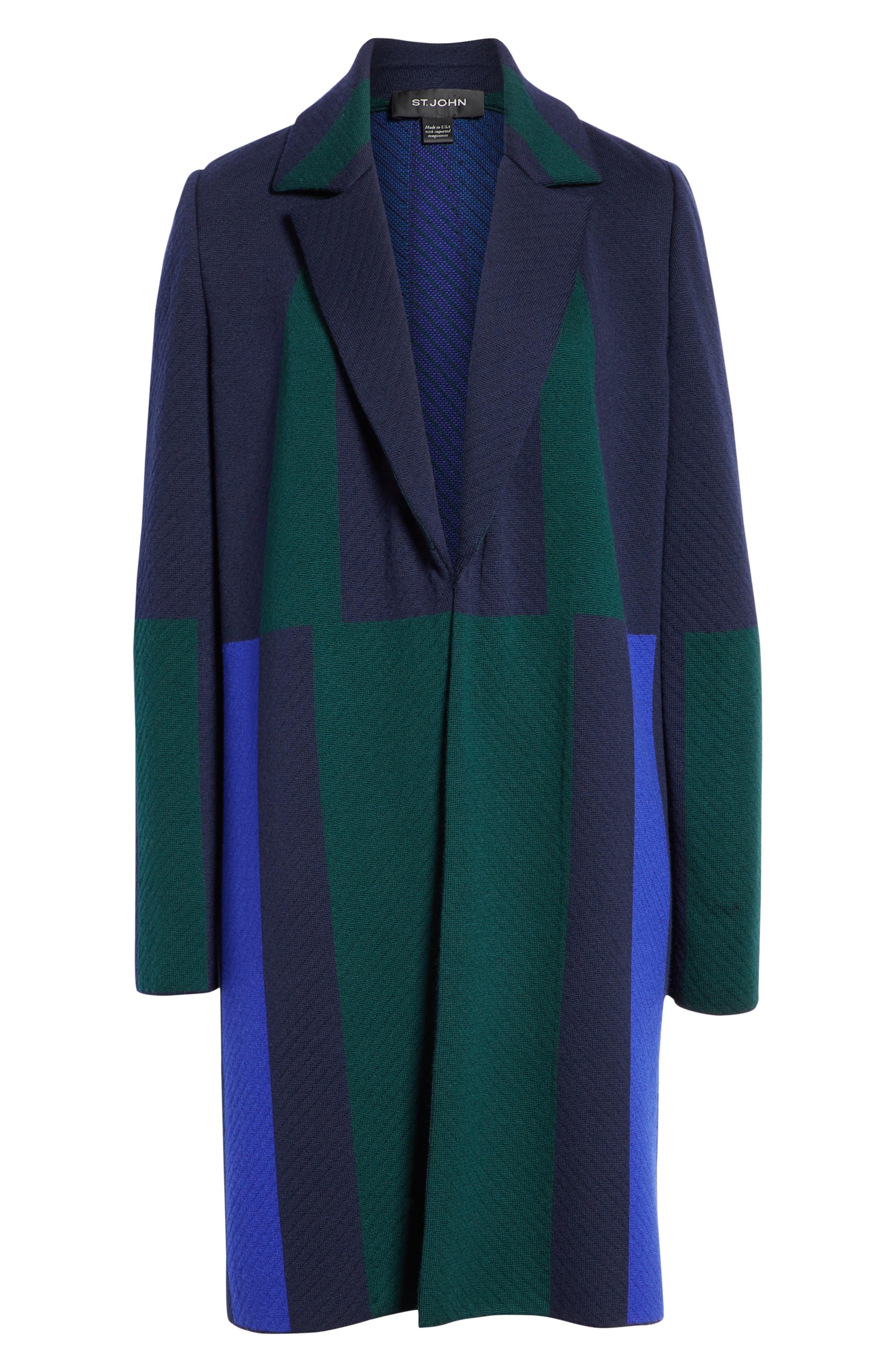 Colorblock Intarsia Wool Twill Jacket,                             Alternate thumbnail 6, color,                             NAVY MULTI