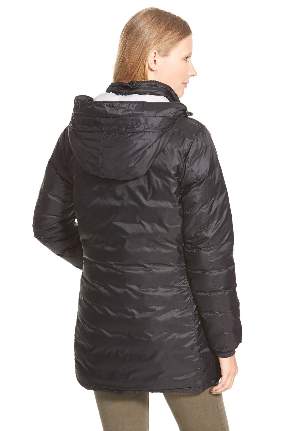 'Camp' Slim Fit Hooded Packable Down Jacket,                             Alternate thumbnail 3, color,                             BLACK