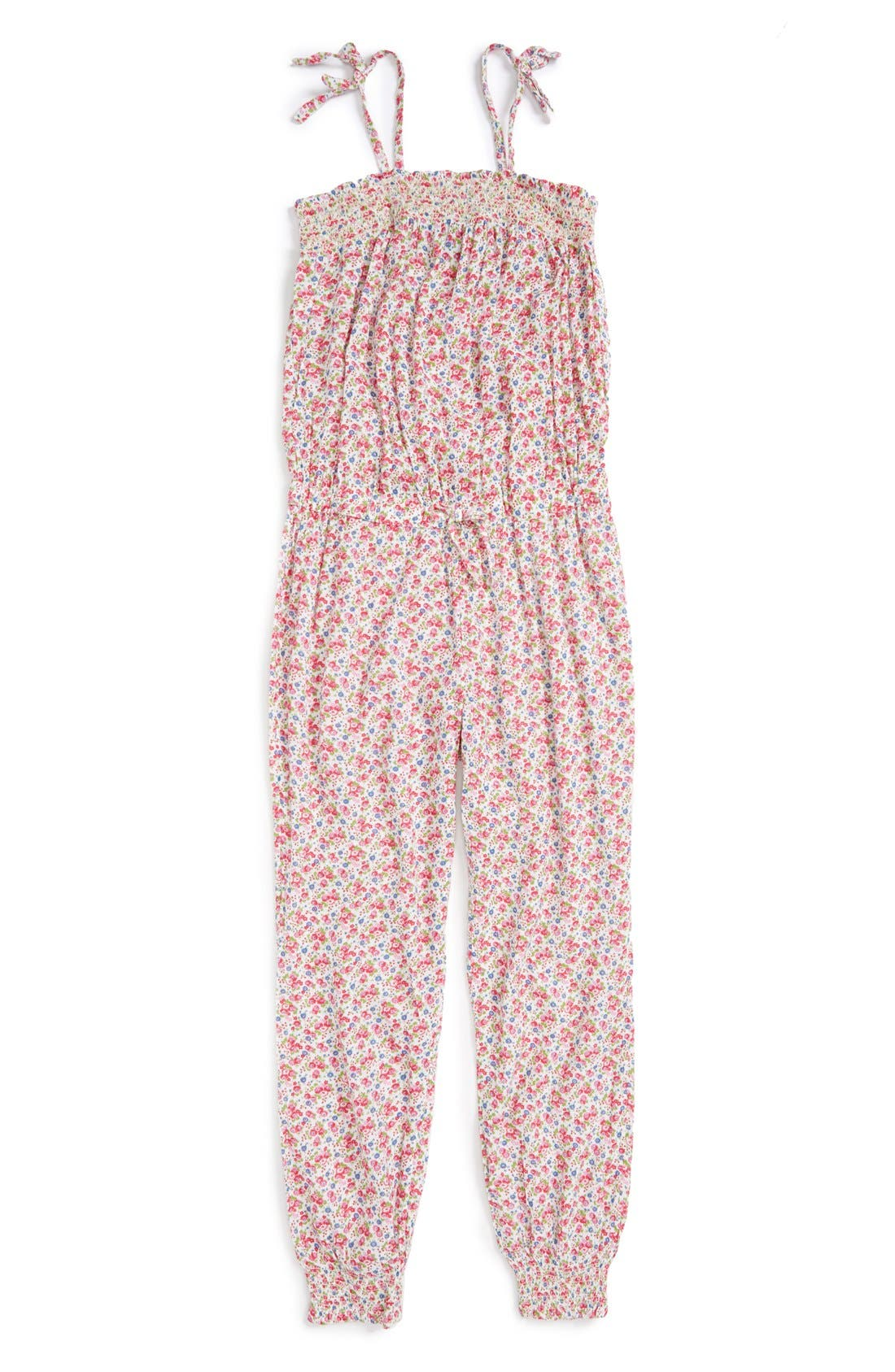 RALPH LAUREN Floral Print Romper, Main, color, 101