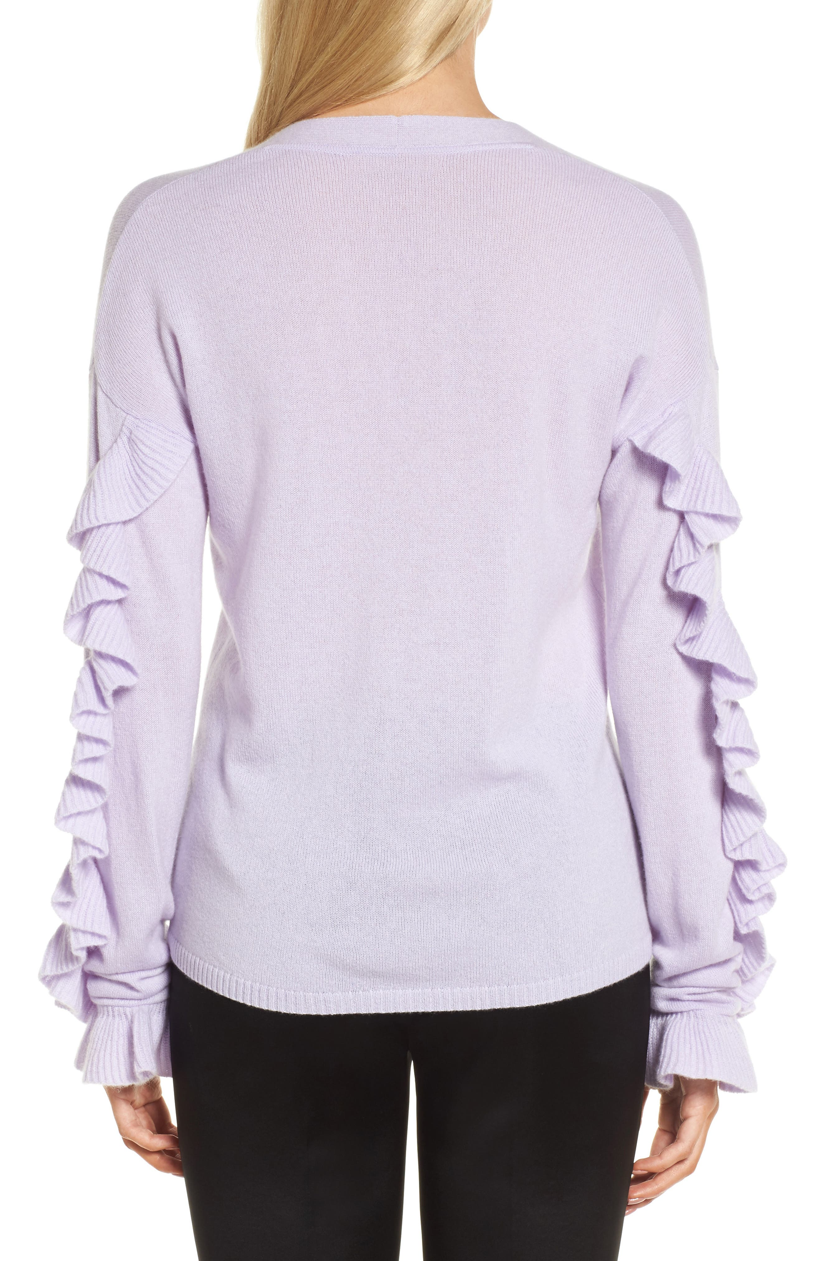 Ruffle Sleeve Cashmere Sweater,                             Alternate thumbnail 4, color,