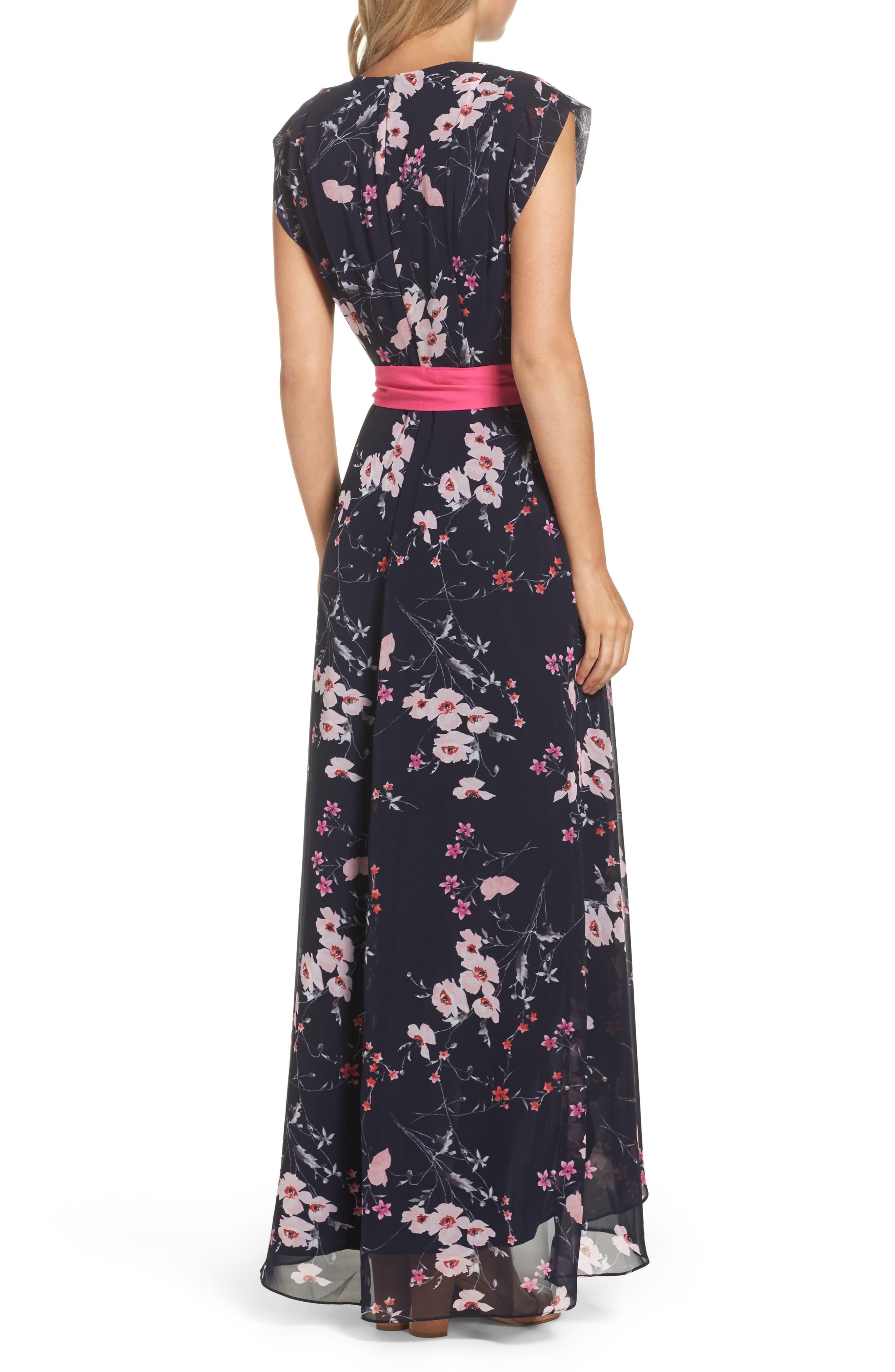 High/Low Floral Faux Wrap Dress,                             Alternate thumbnail 2, color,                             NAVY/ PINK