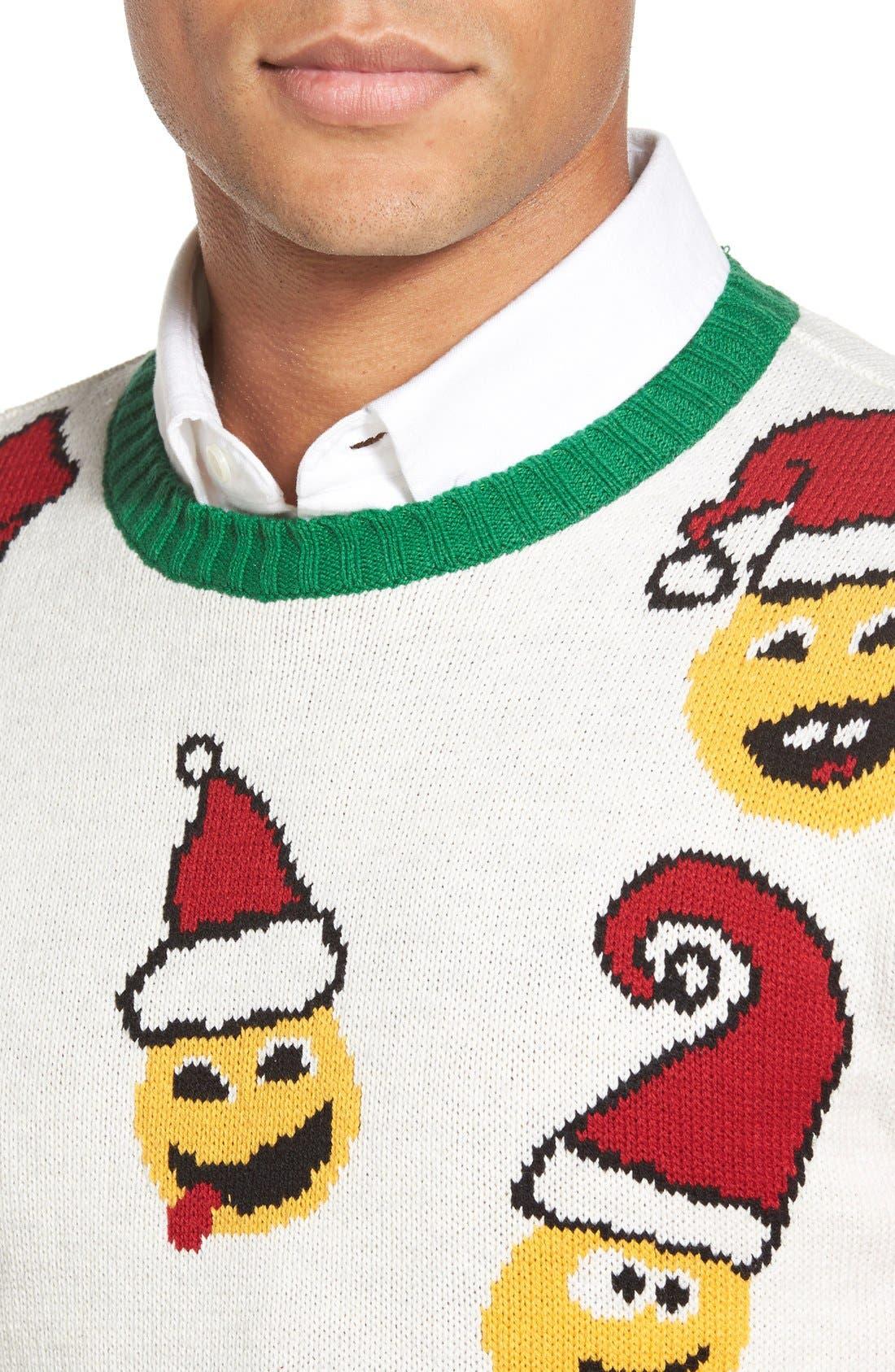 'Emoji Faces' Holiday Crewneck Sweater,                             Alternate thumbnail 3, color,