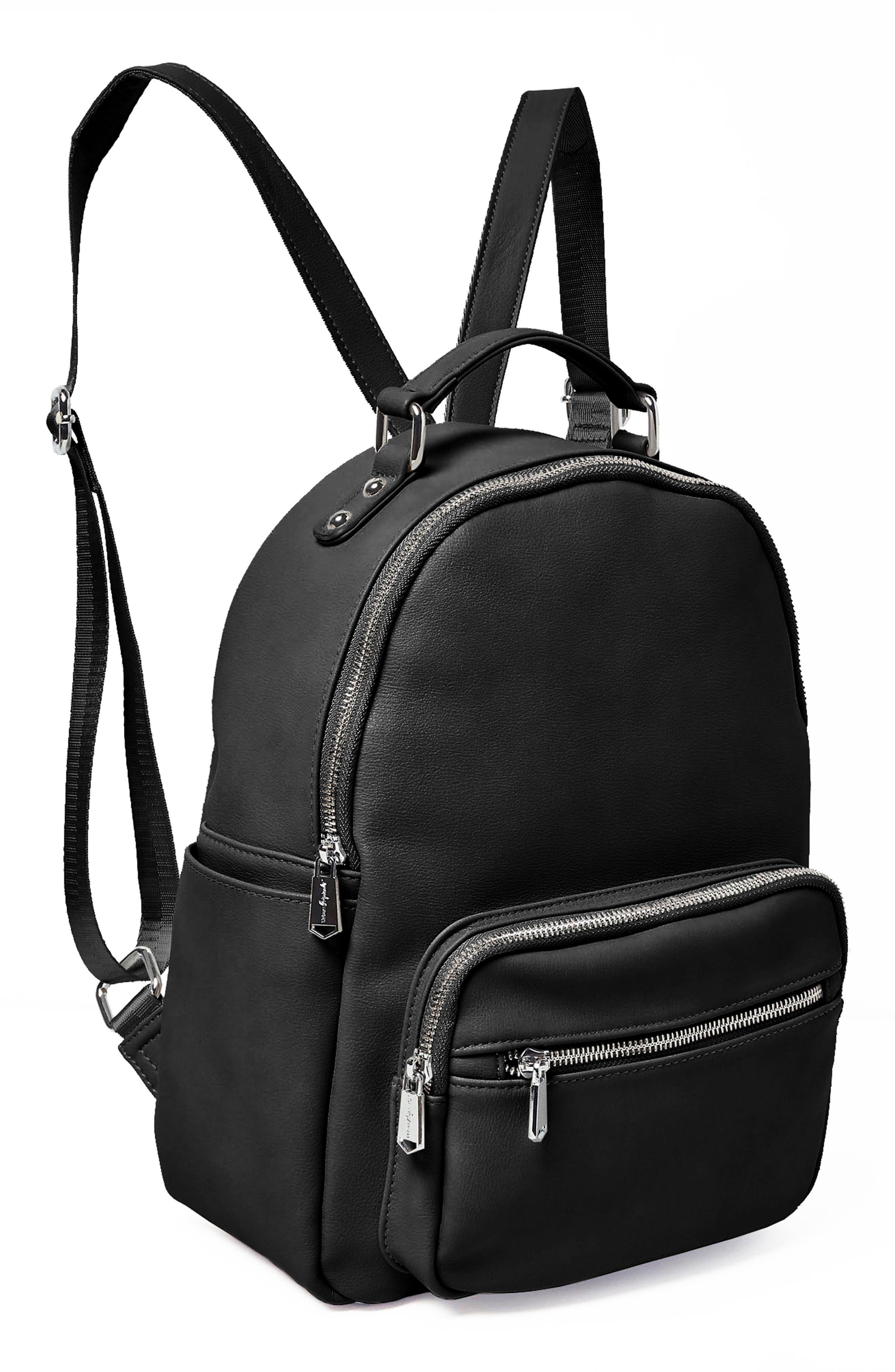 On My Own Vegan Leather Backpack,                             Alternate thumbnail 4, color,                             BLACK