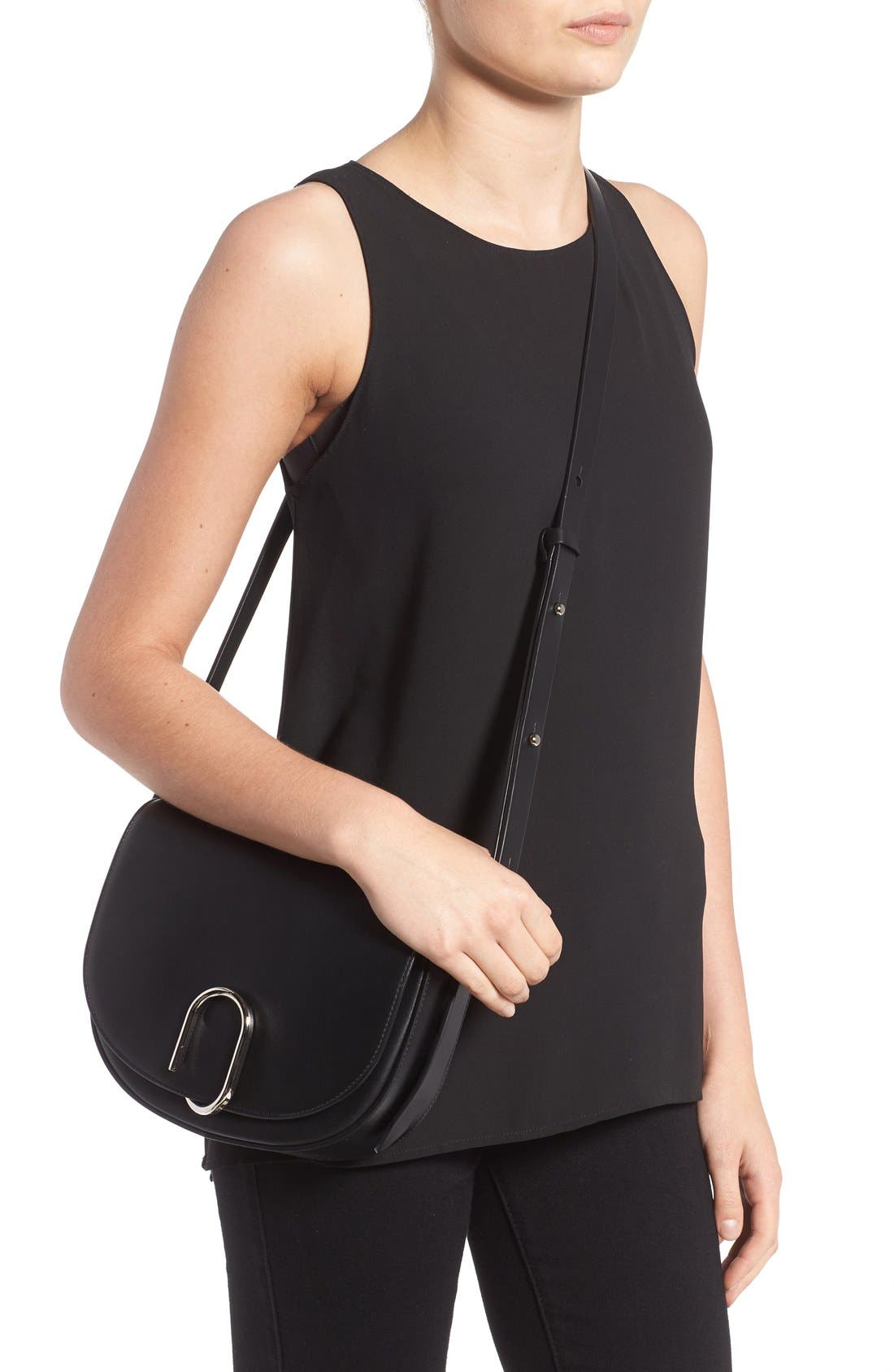 Alix Leather Saddle Bag,                             Alternate thumbnail 4, color,