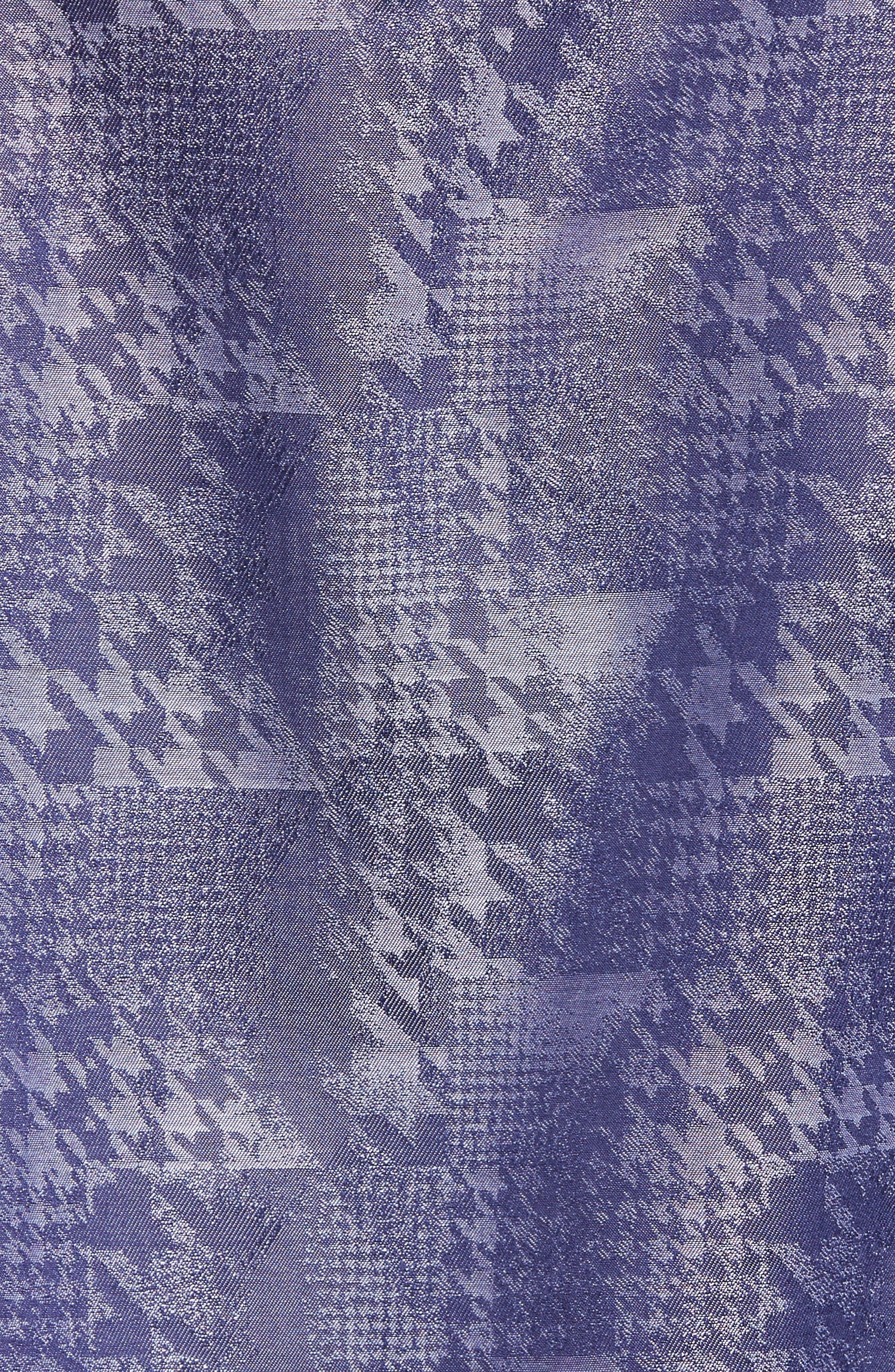 Shaped Fit Glen Check Sport Shirt,                             Alternate thumbnail 5, color,                             INDIGO