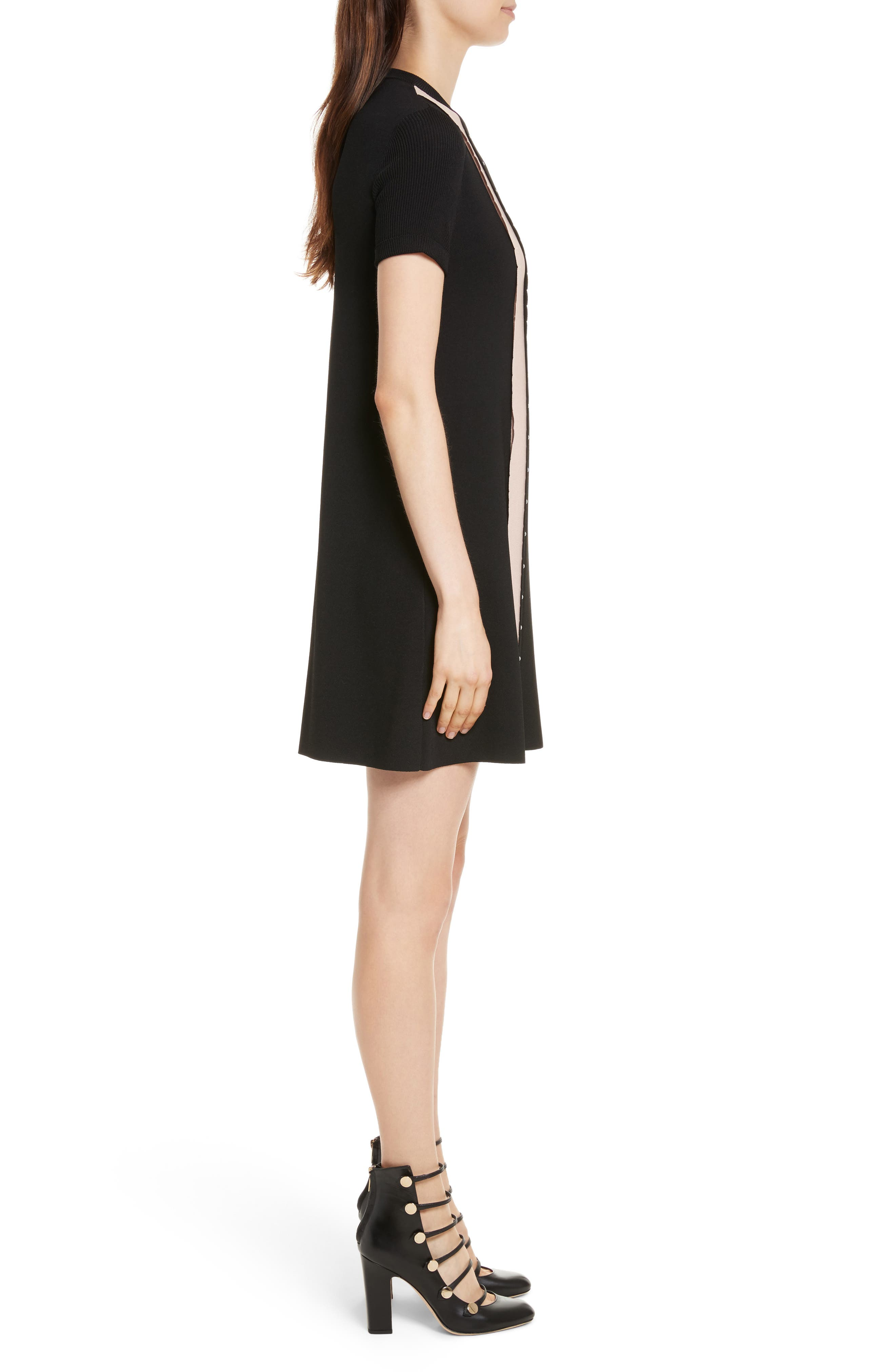 Scallop Stretch Knit Dress,                             Alternate thumbnail 3, color,                             013