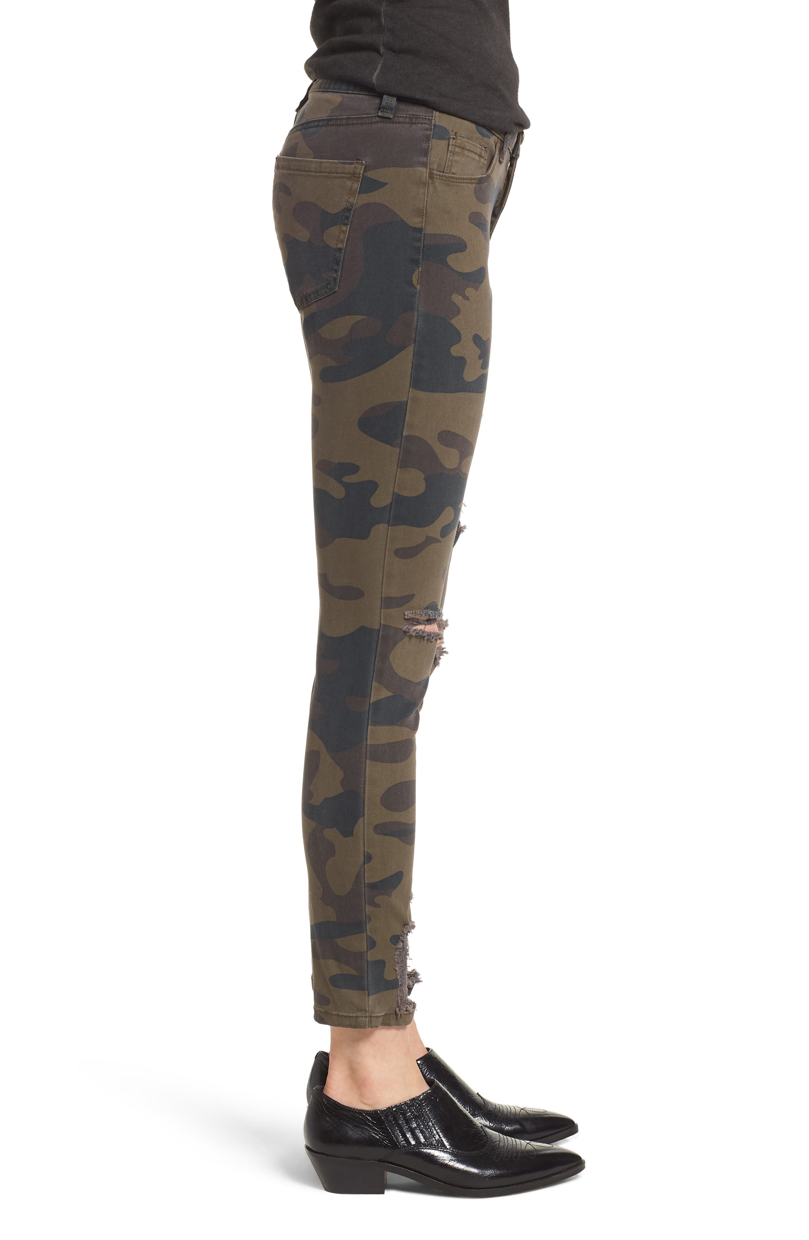 Ripped Camouflage Skinny Jeans,                             Alternate thumbnail 3, color,                             OLIVE COMBO