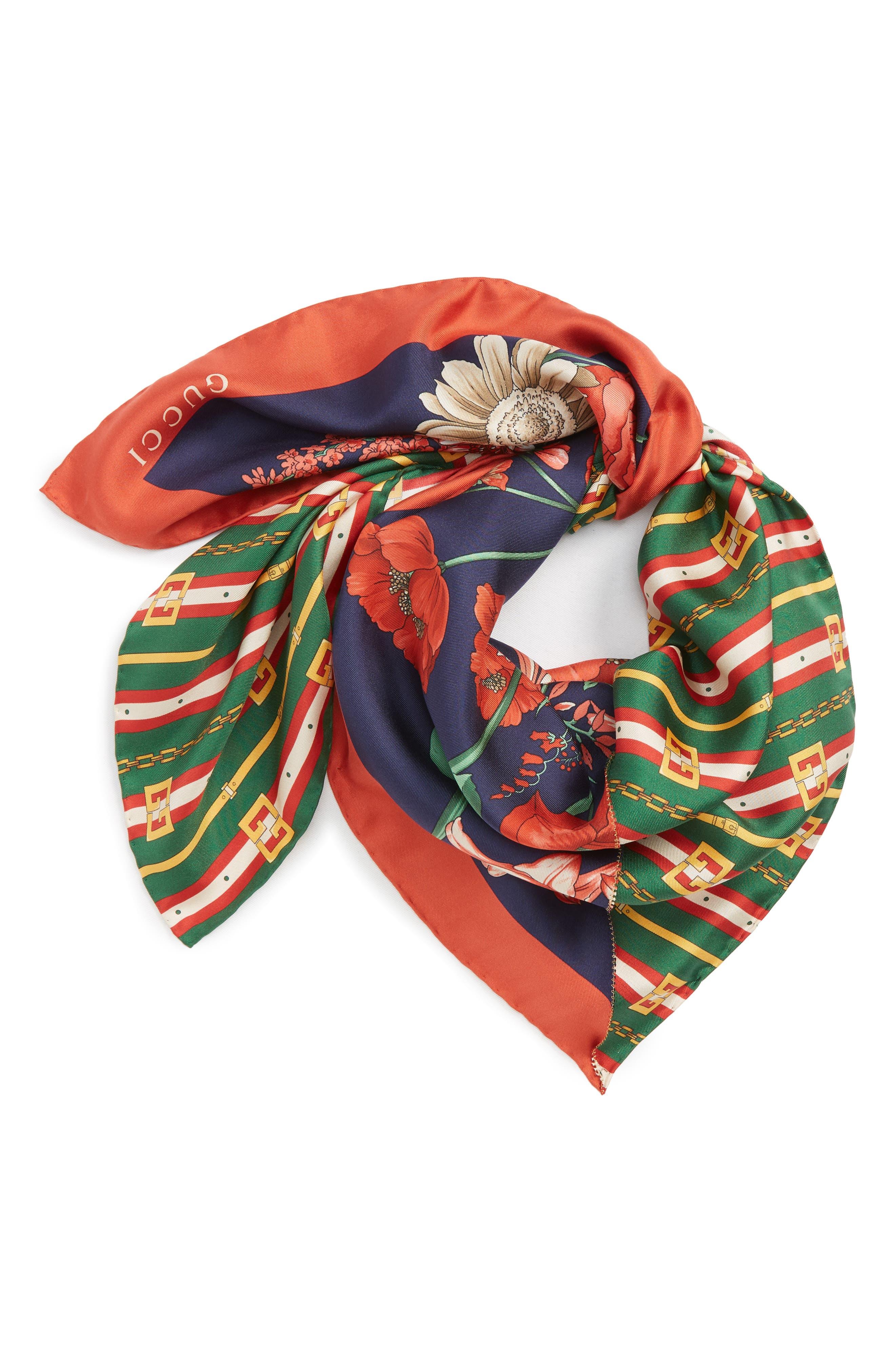 Bouquet Chain Silk Twill Scarf,                             Alternate thumbnail 3, color,                             NAVY/ DARK GREEN
