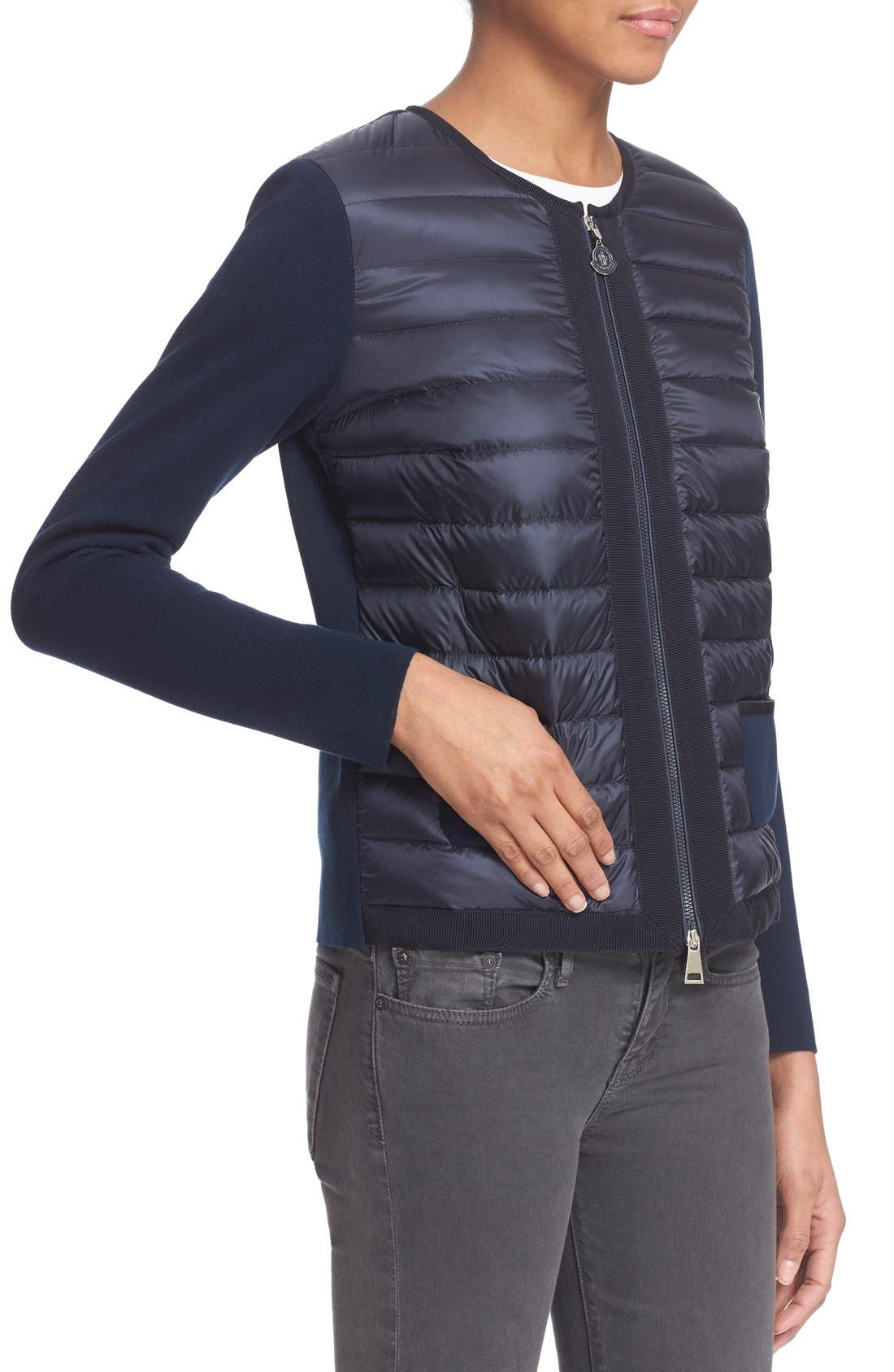 MONCLER,                             'Maglia' Quilted Down Front Tricot Cardigan,                             Alternate thumbnail 6, color,                             419
