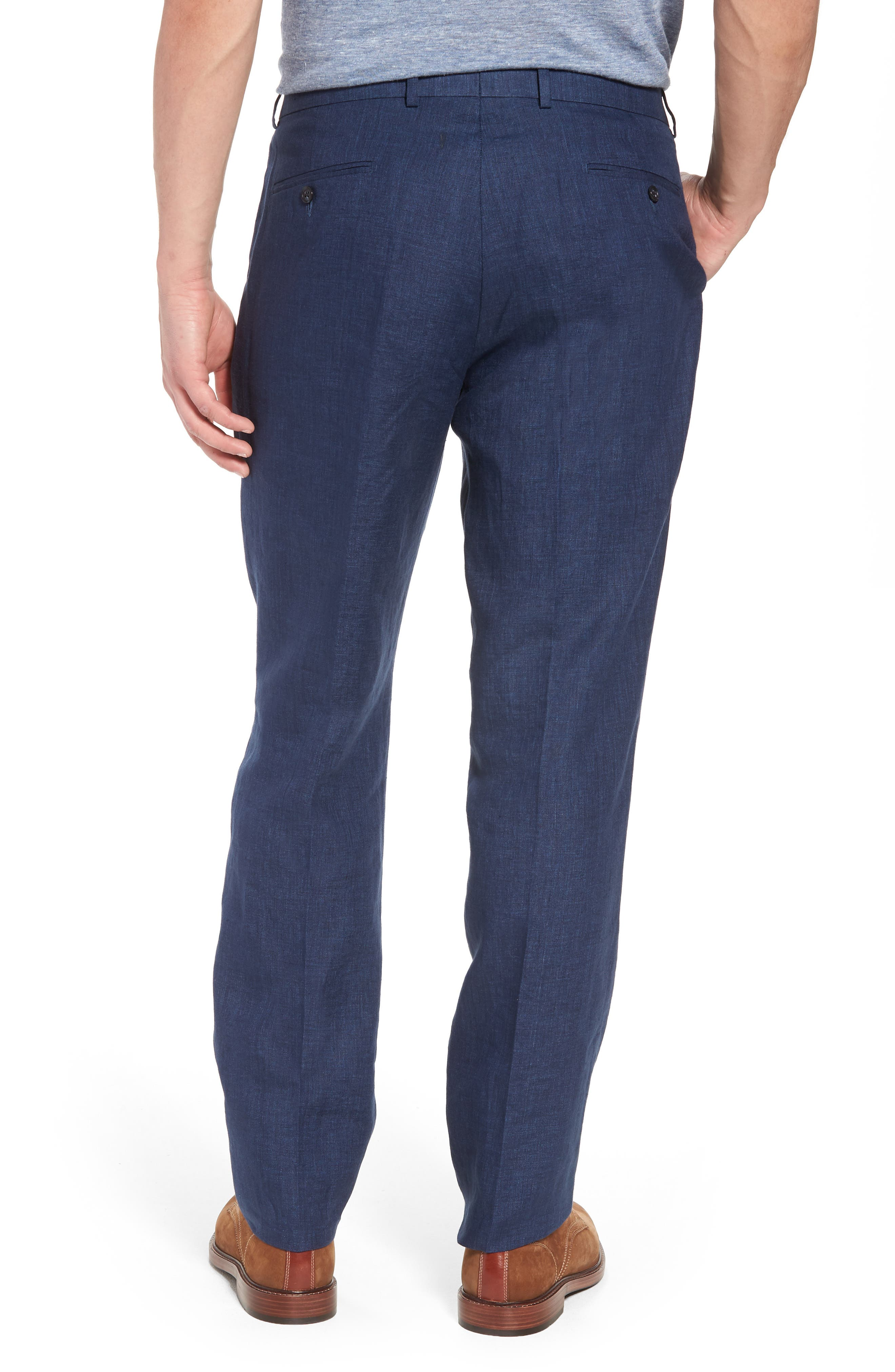 Andrew AIM Flat Front Linen Trousers,                             Alternate thumbnail 2, color,                             NAVY