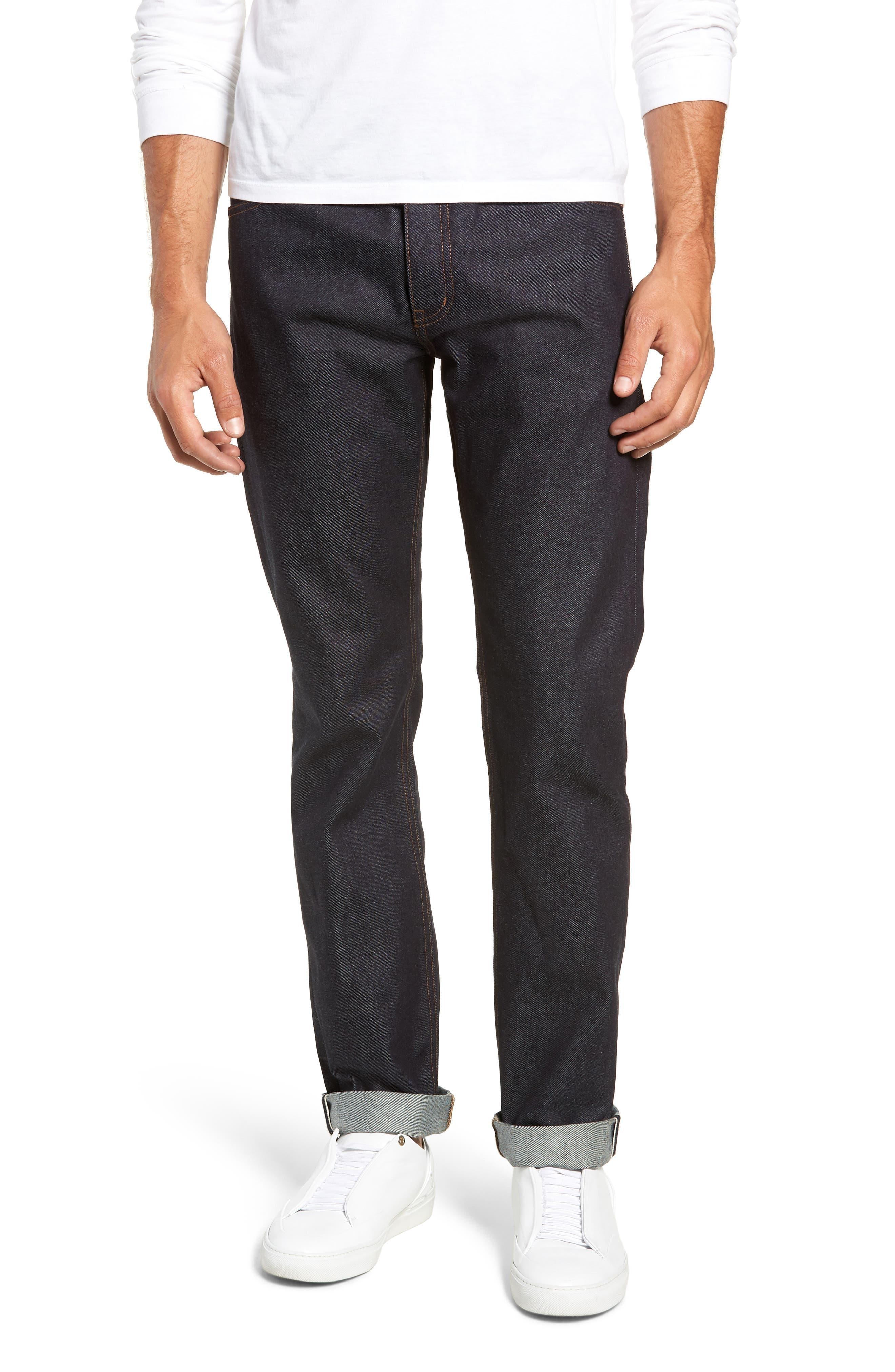 Dr. Denim Jeansmaker Gus Slim Straight Leg Raw Selvedge Jeans,                             Main thumbnail 1, color,                             RAW SELVAGE