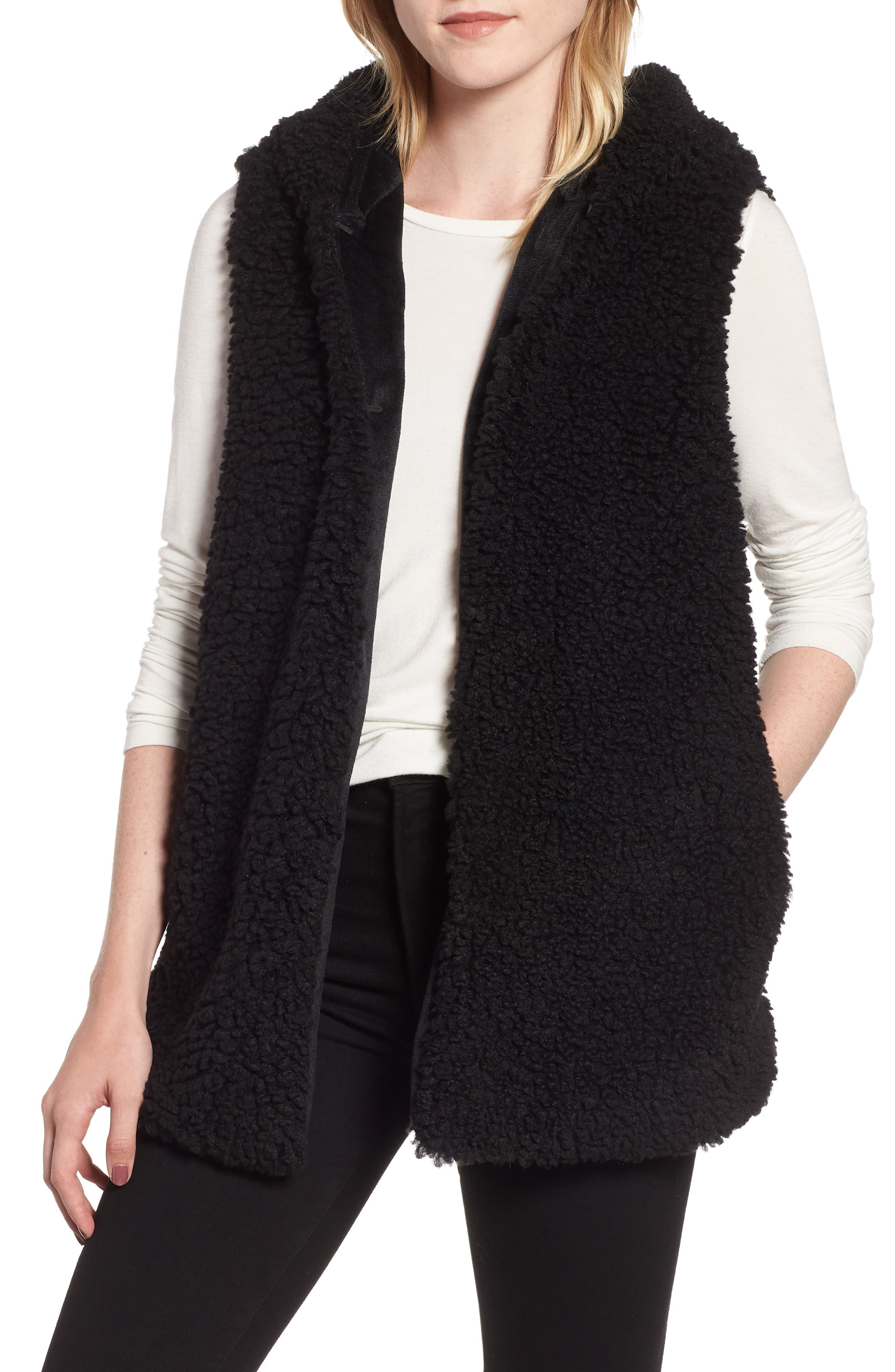 Faux Shearling Hooded Vest,                         Main,                         color, BLACK