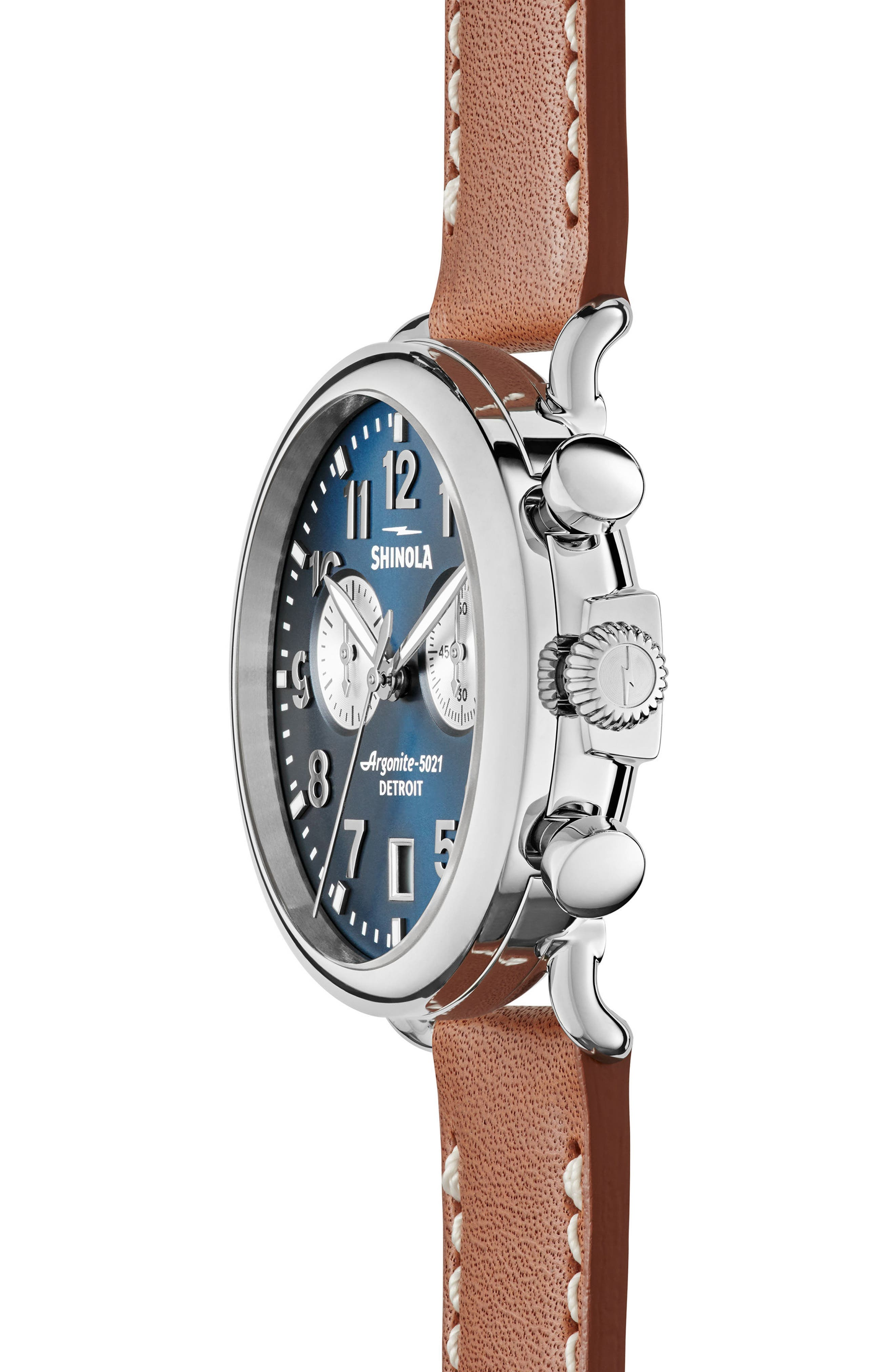 The Runwell Chronograph Leather Strap Watch, 41mm,                             Alternate thumbnail 3, color,                             TAN/ MIDNIGHT BLUE