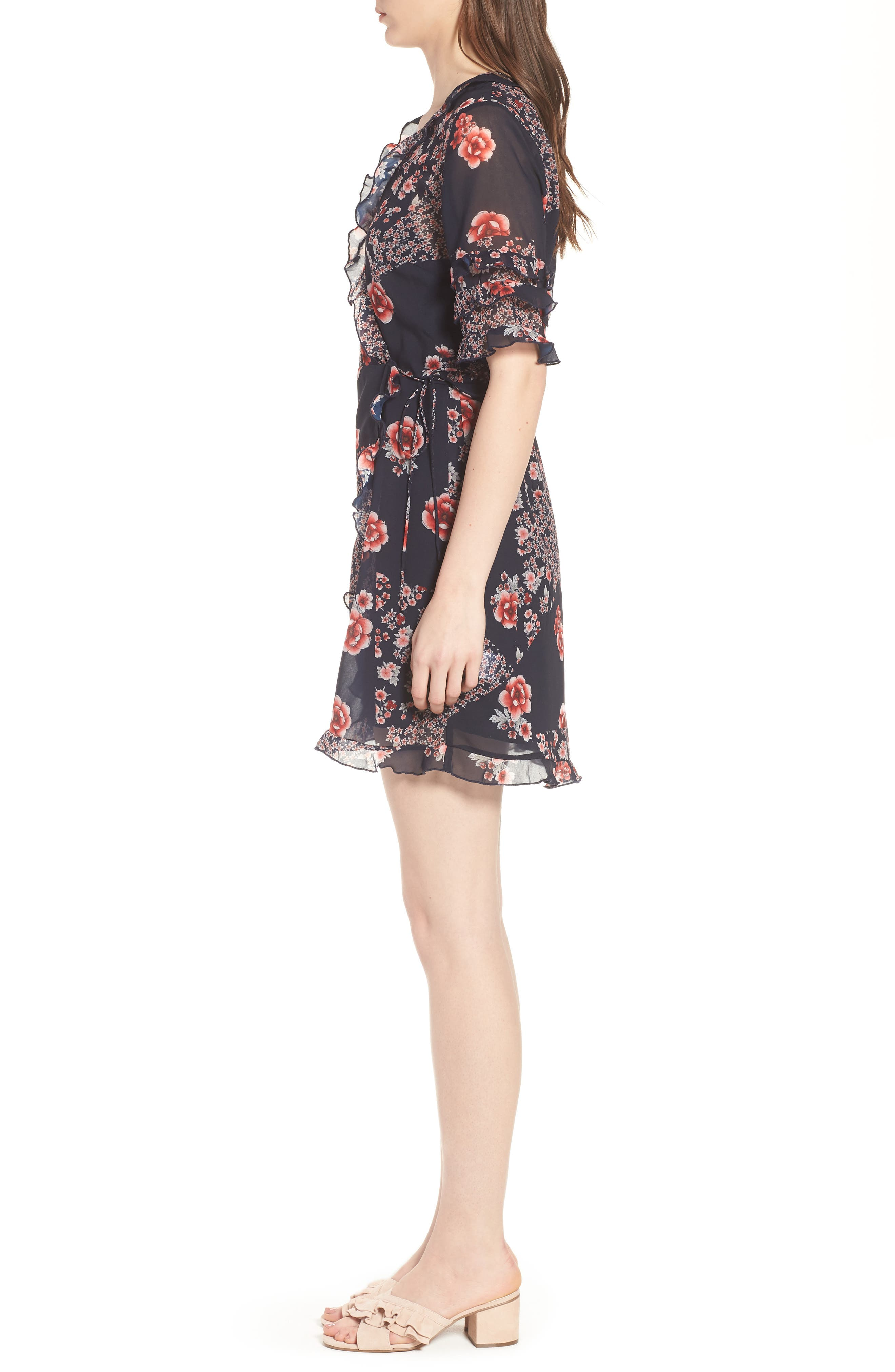 East Floral Wrap Dress,                             Alternate thumbnail 3, color,                             421