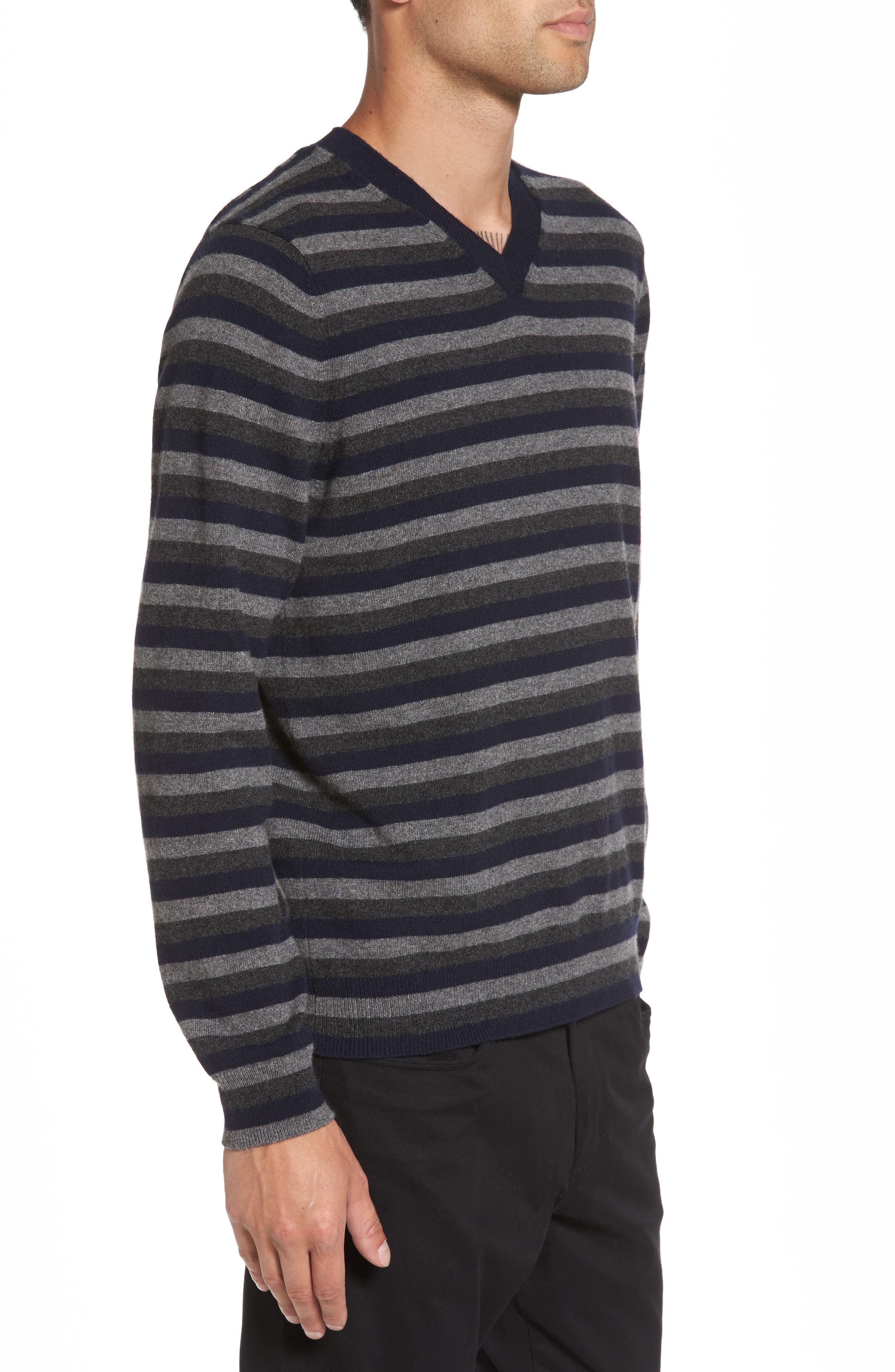 Stripe V-Neck Cashmere Sweater,                             Alternate thumbnail 3, color,                             406