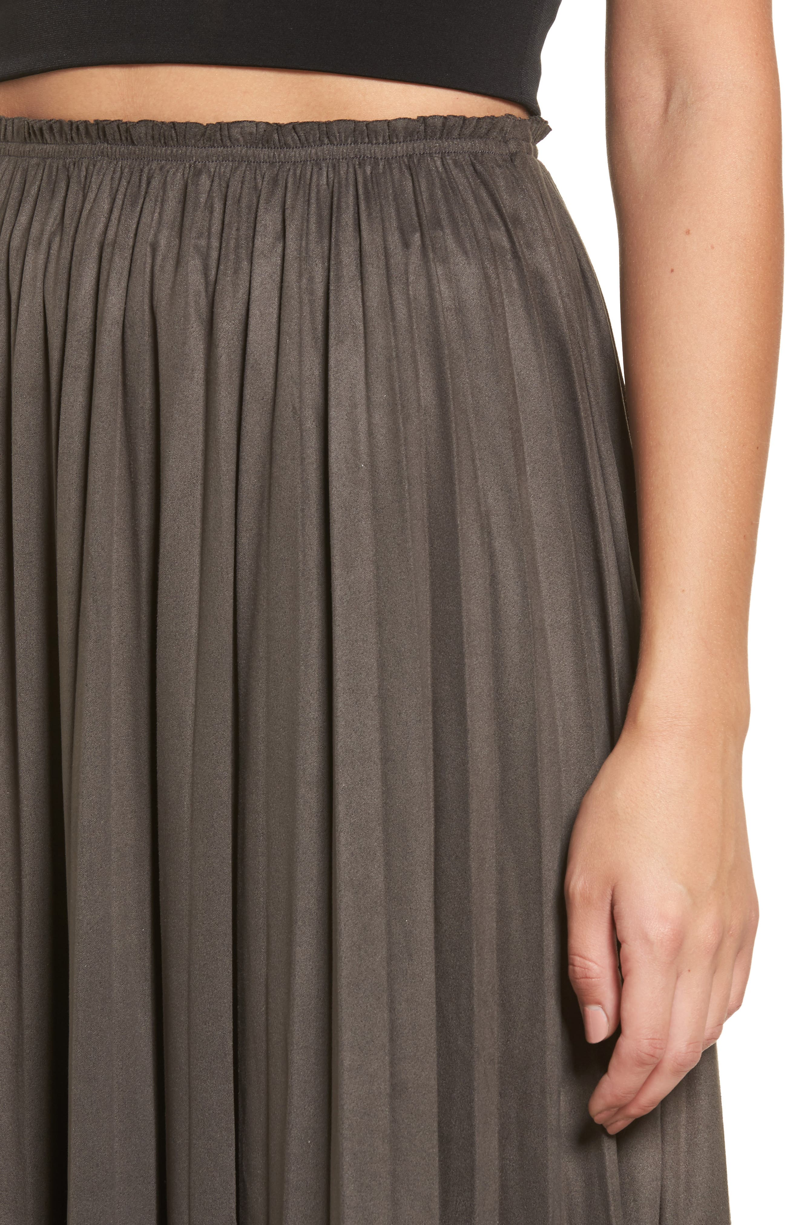 Pleated Faux Suede Midi Skirt,                             Alternate thumbnail 4, color,                             300