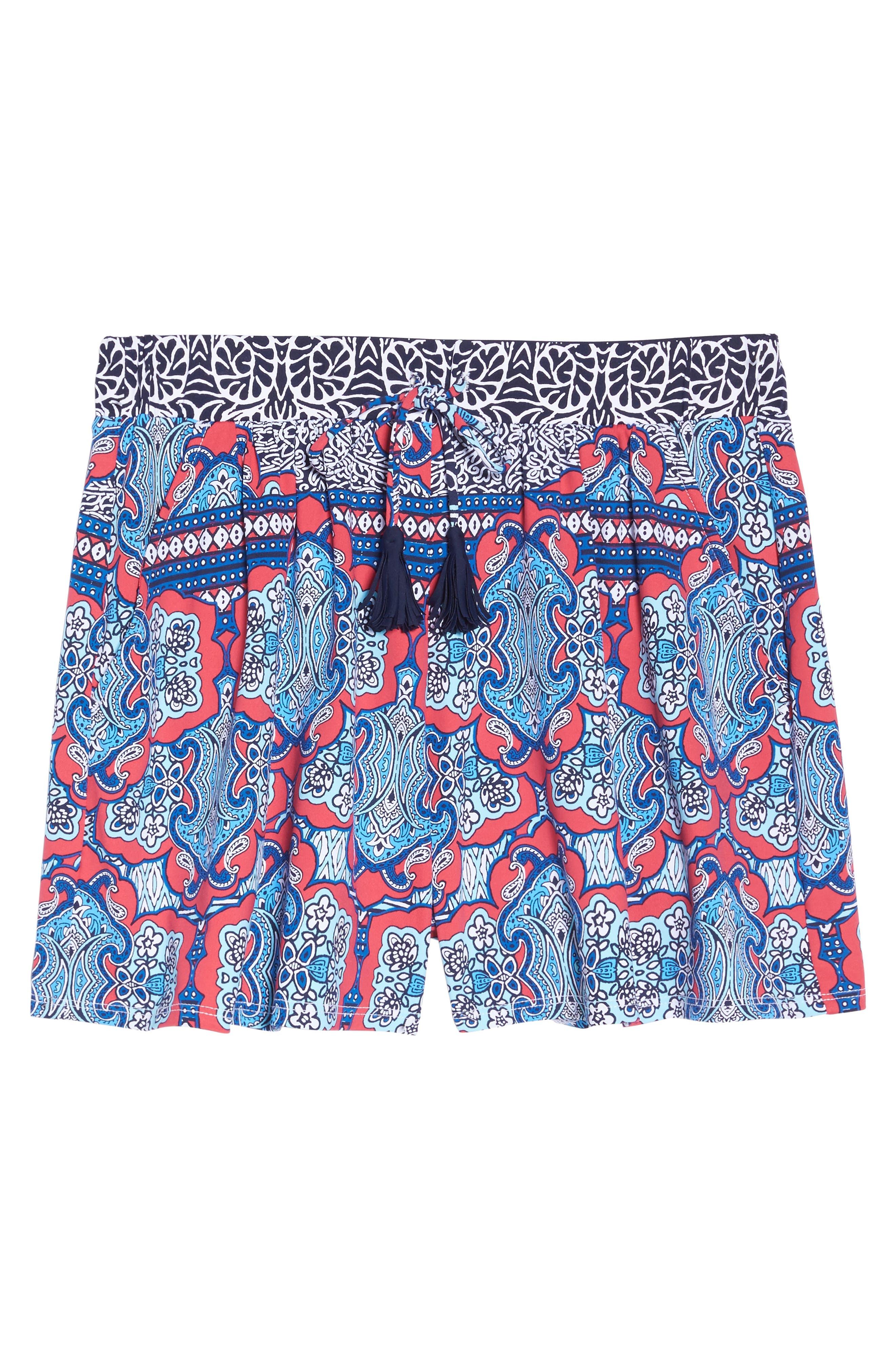Riviera Tiles Cover-Up Shorts,                             Alternate thumbnail 6, color,                             CERISE