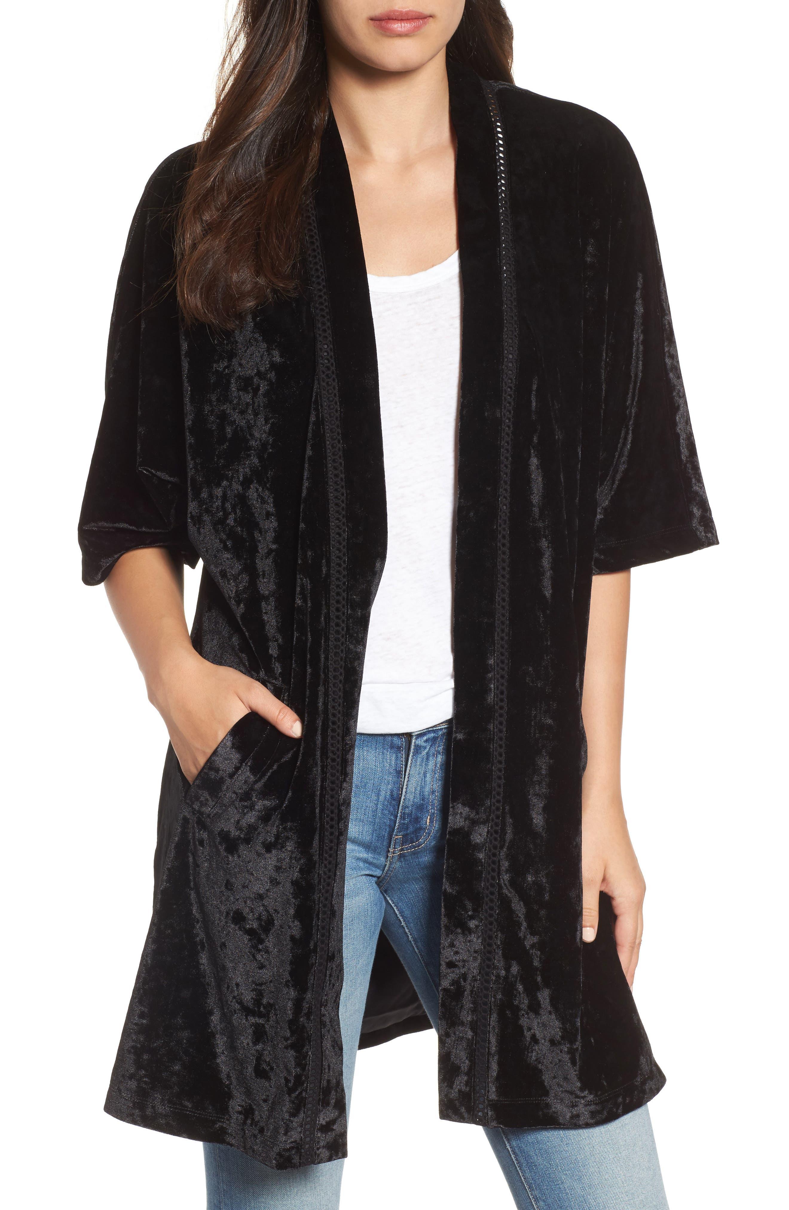 Embroidered Velvet Kimono Jacket,                             Main thumbnail 1, color,                             001