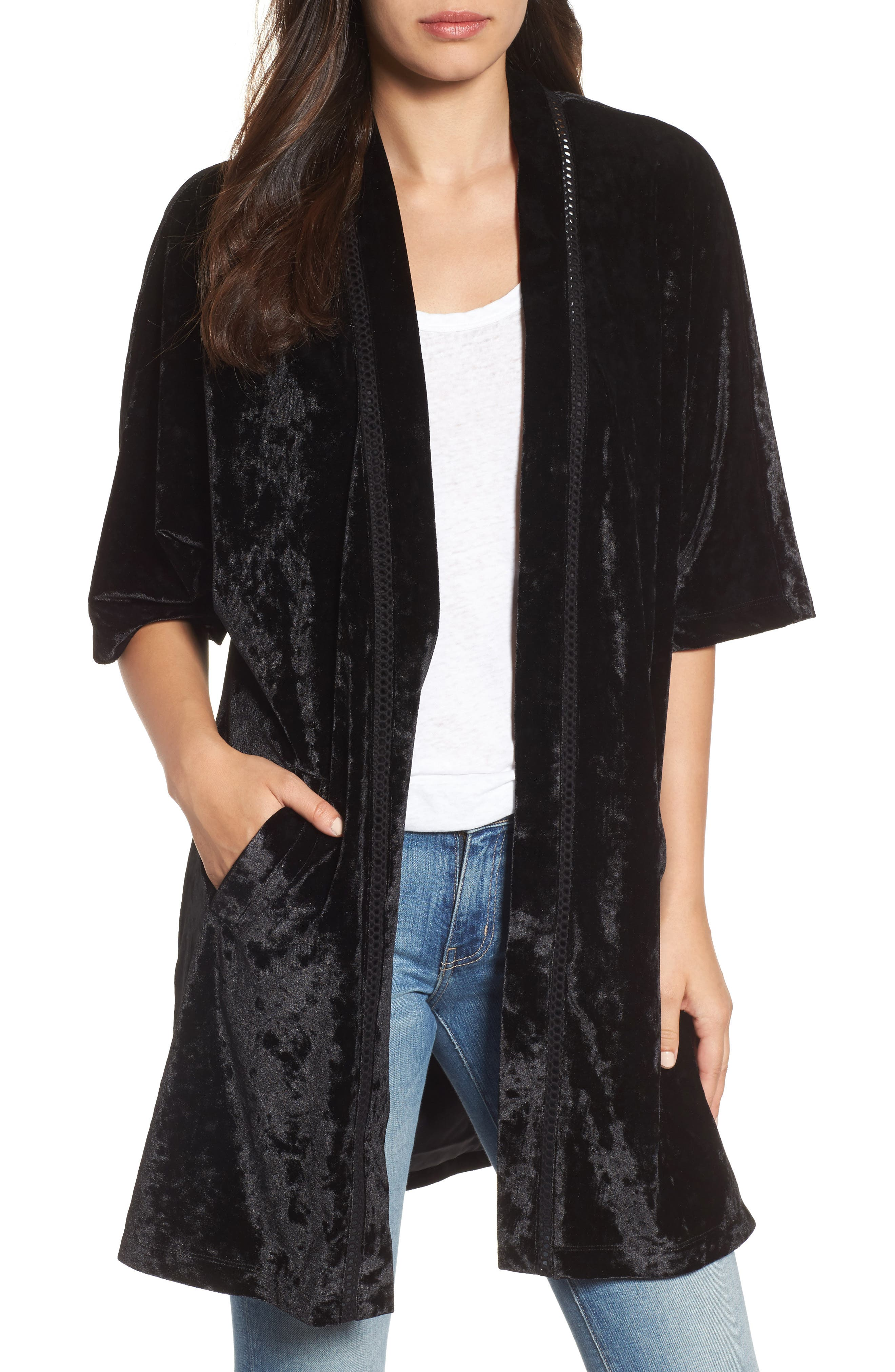 Embroidered Velvet Kimono Jacket,                         Main,                         color, 001