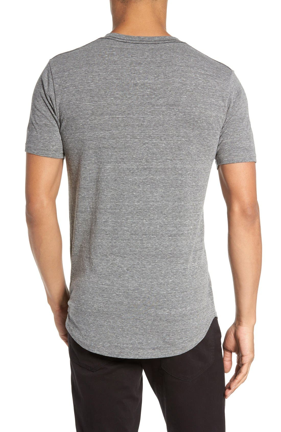 Scallop Triblend V-Neck T-Shirt,                             Alternate thumbnail 6, color,                             HEATHER GREY