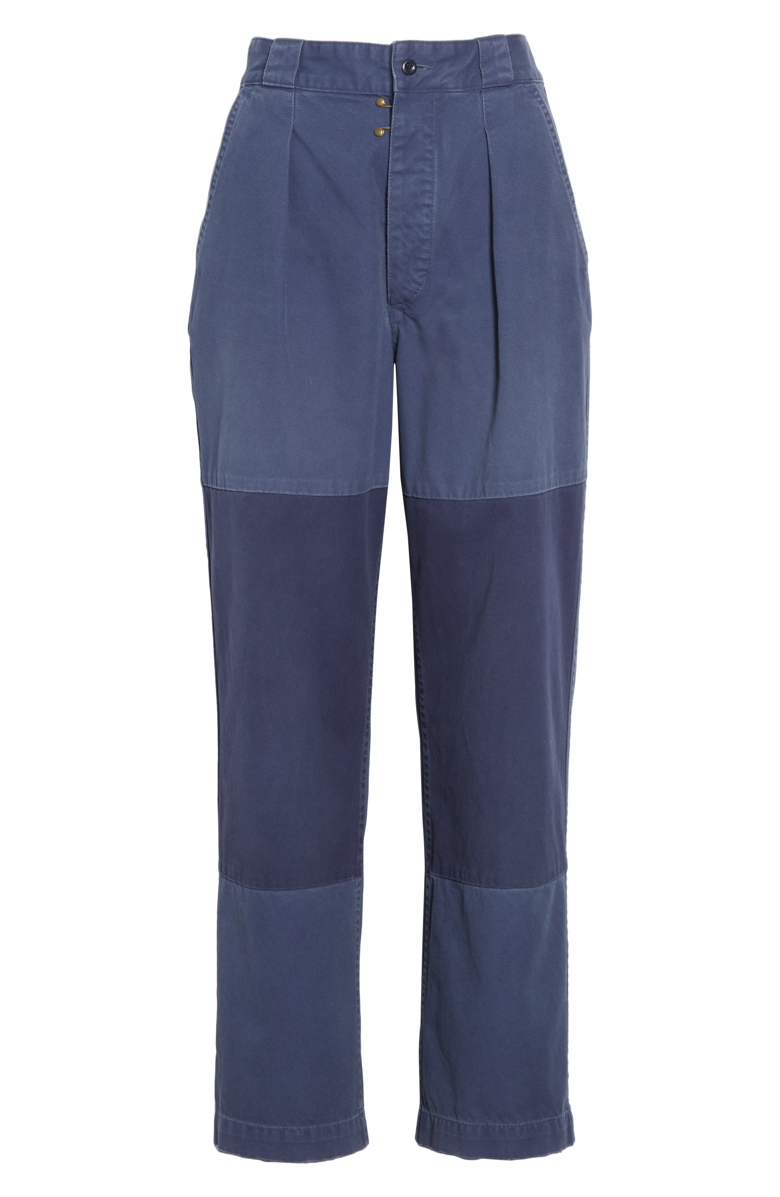 Patched Wide Leg Pants,                             Alternate thumbnail 6, color,                             NEW CLASSIC NAVY/ LIGHT NAVY
