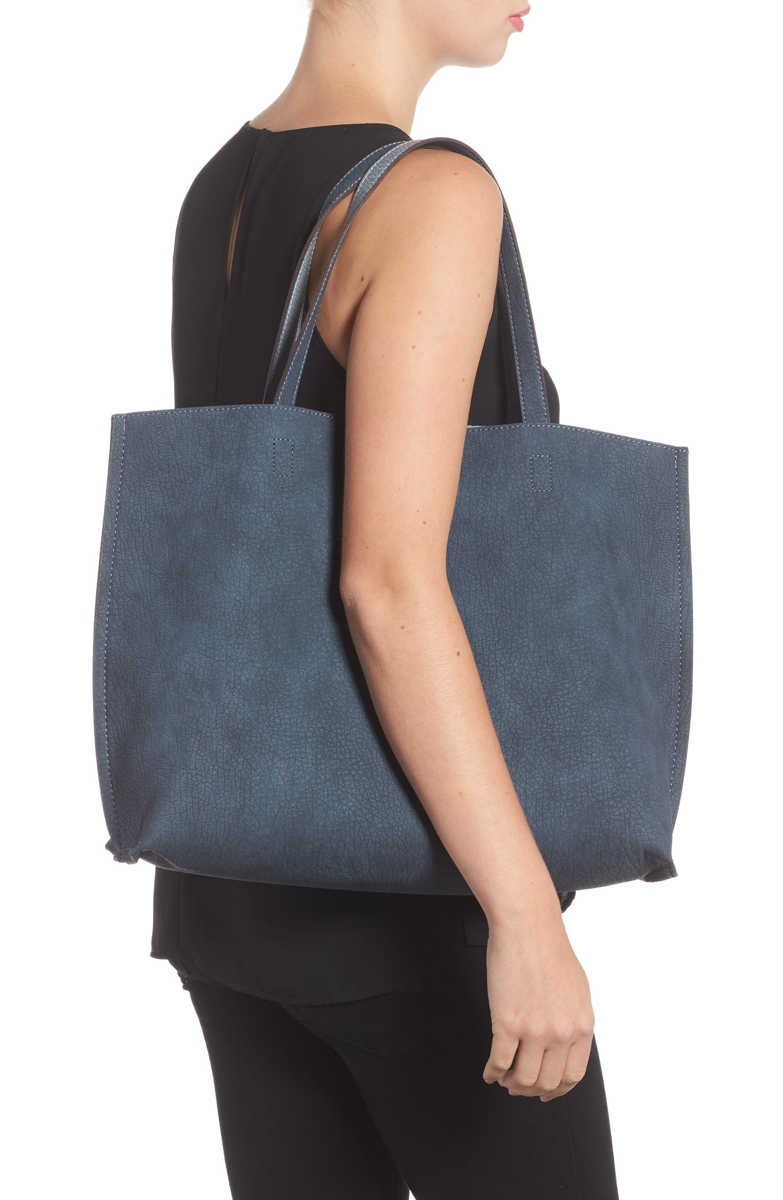 Reversible Faux Leather Tote,                             Alternate thumbnail 3, color,                             020