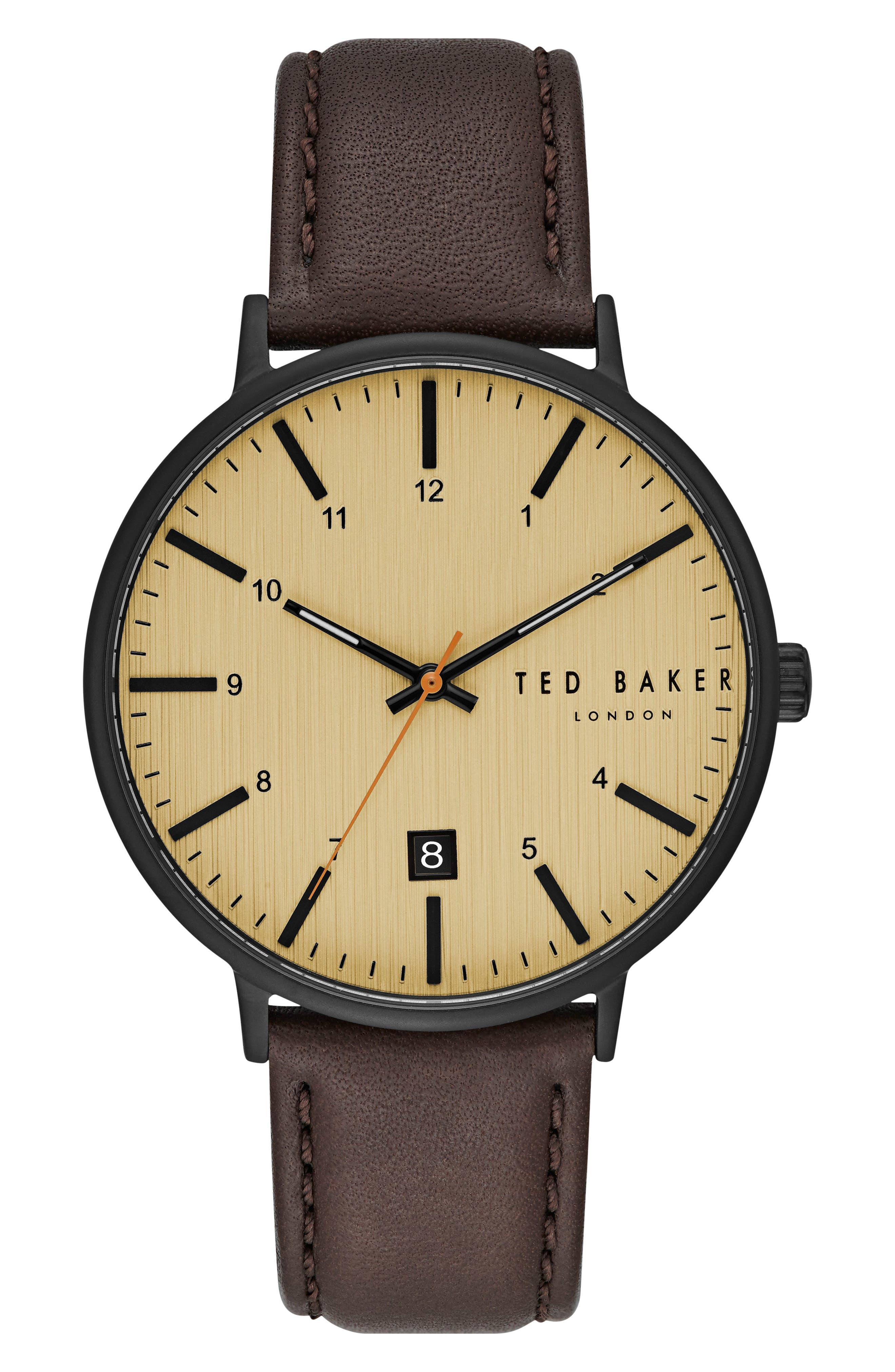 Harris Leather Strap Watch, 42mm,                         Main,                         color, 202