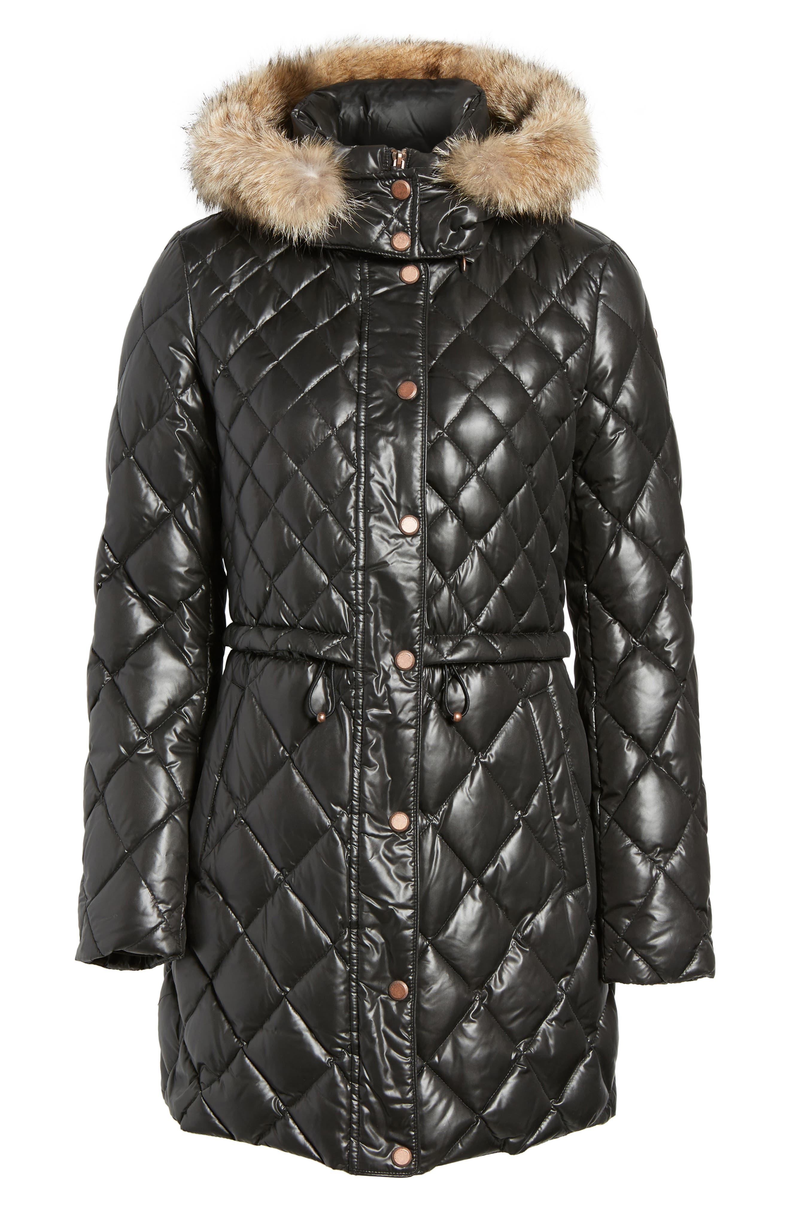 Quilted Anorak with Genuine Coyote Fur,                             Alternate thumbnail 5, color,                             001