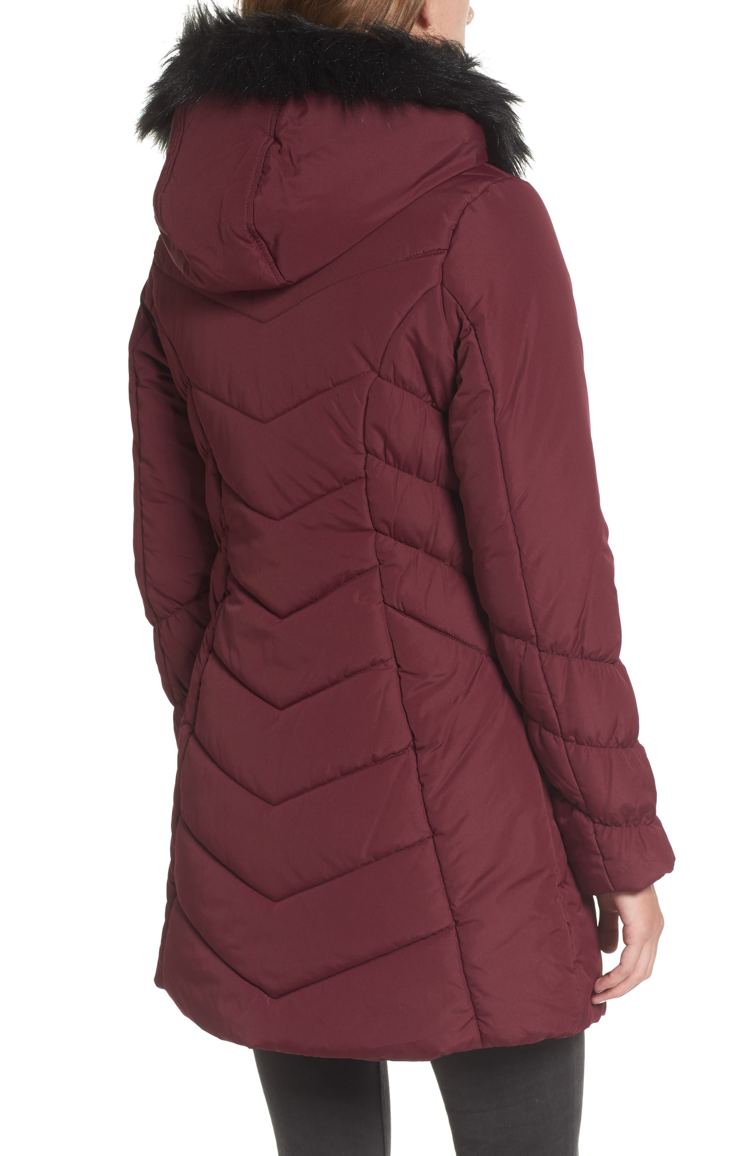Faux Fur Trim Hooded Puffer Jacket,                             Alternate thumbnail 2, color,                             930