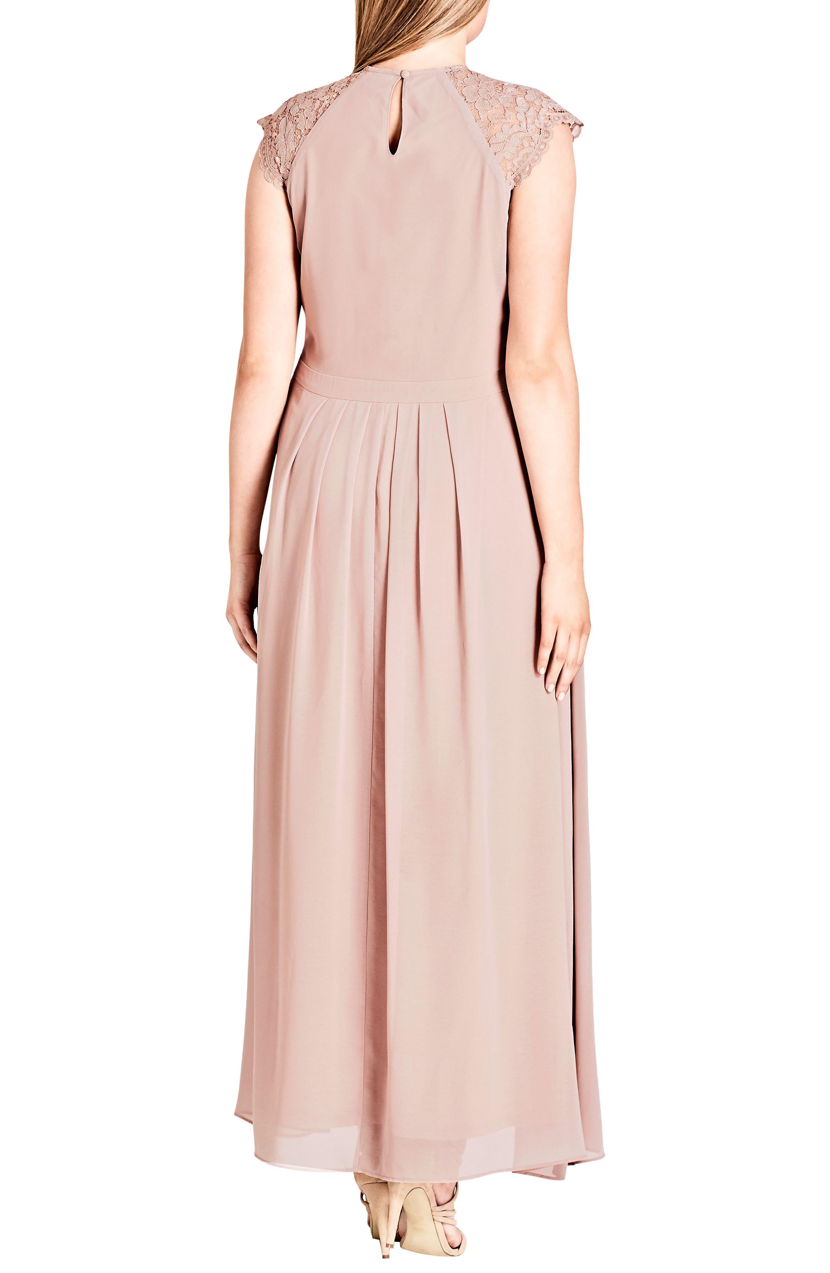 Lace Bodice Maxi Dress,                             Alternate thumbnail 3, color,                             MUSHROOM