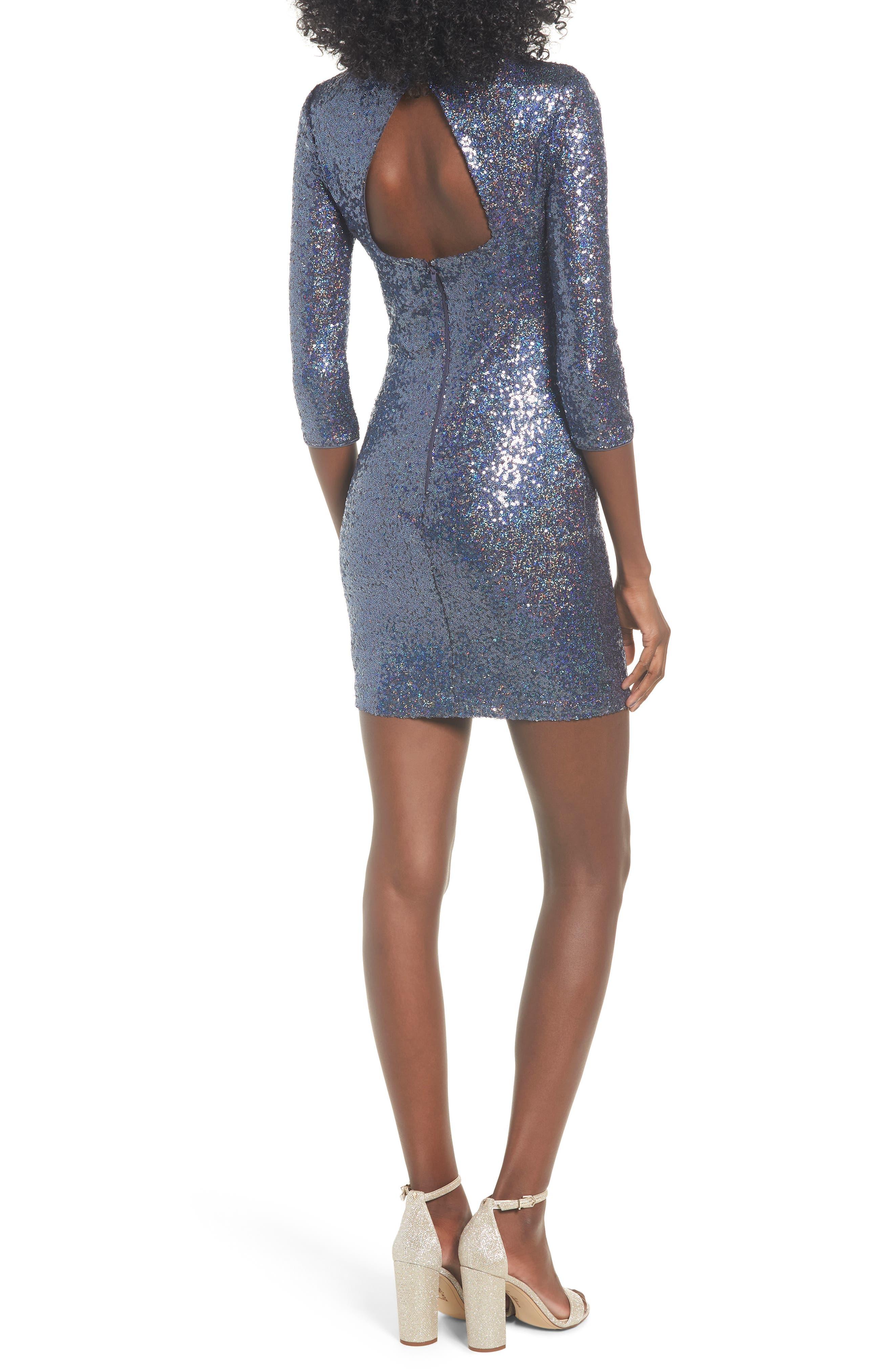 Sequin Body-Con Minidress,                             Alternate thumbnail 2, color,                             NAVY EVENING