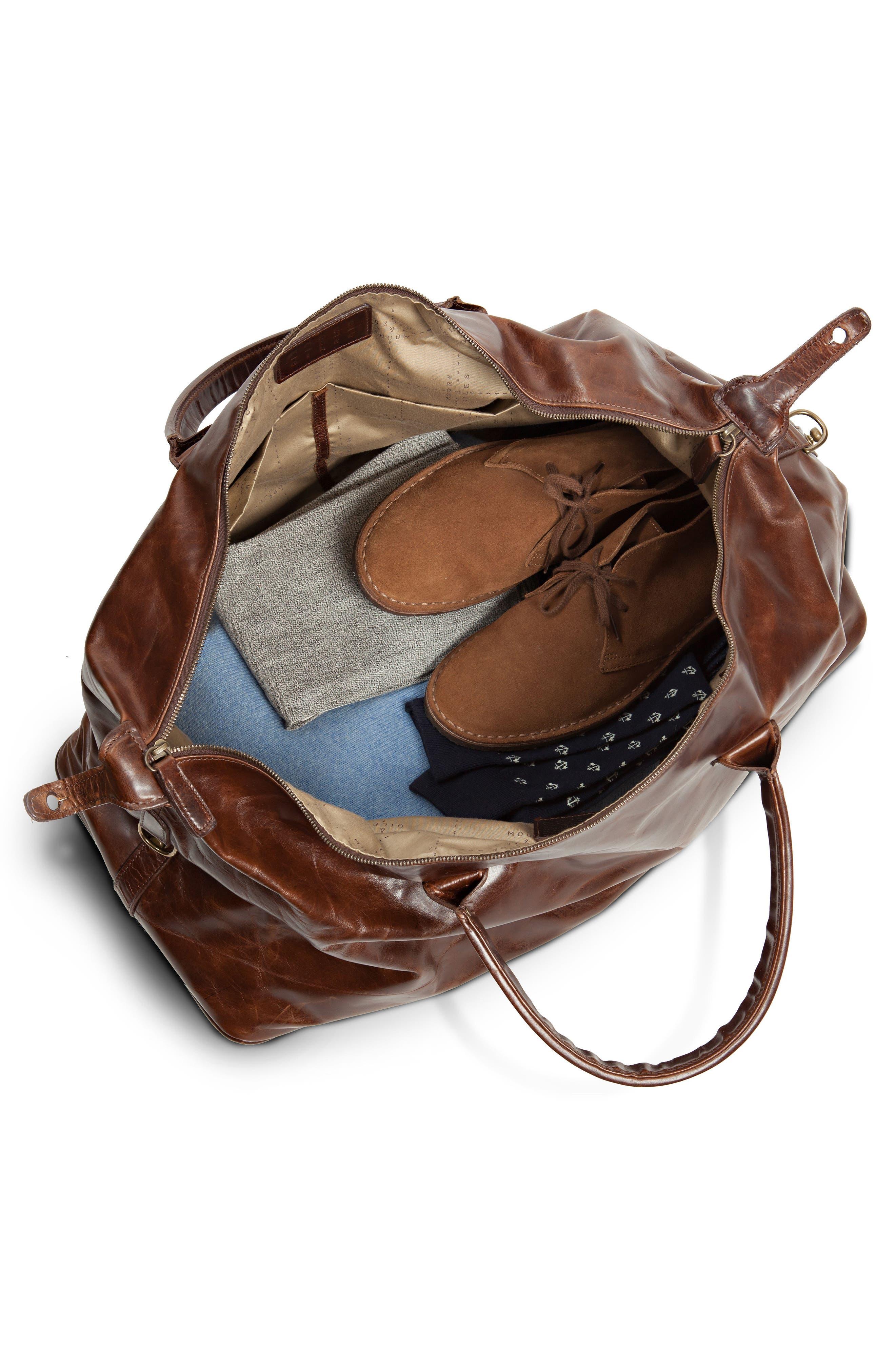 Benedict Leather Duffel Bag,                             Alternate thumbnail 2, color,                             BROMPTON BROWN