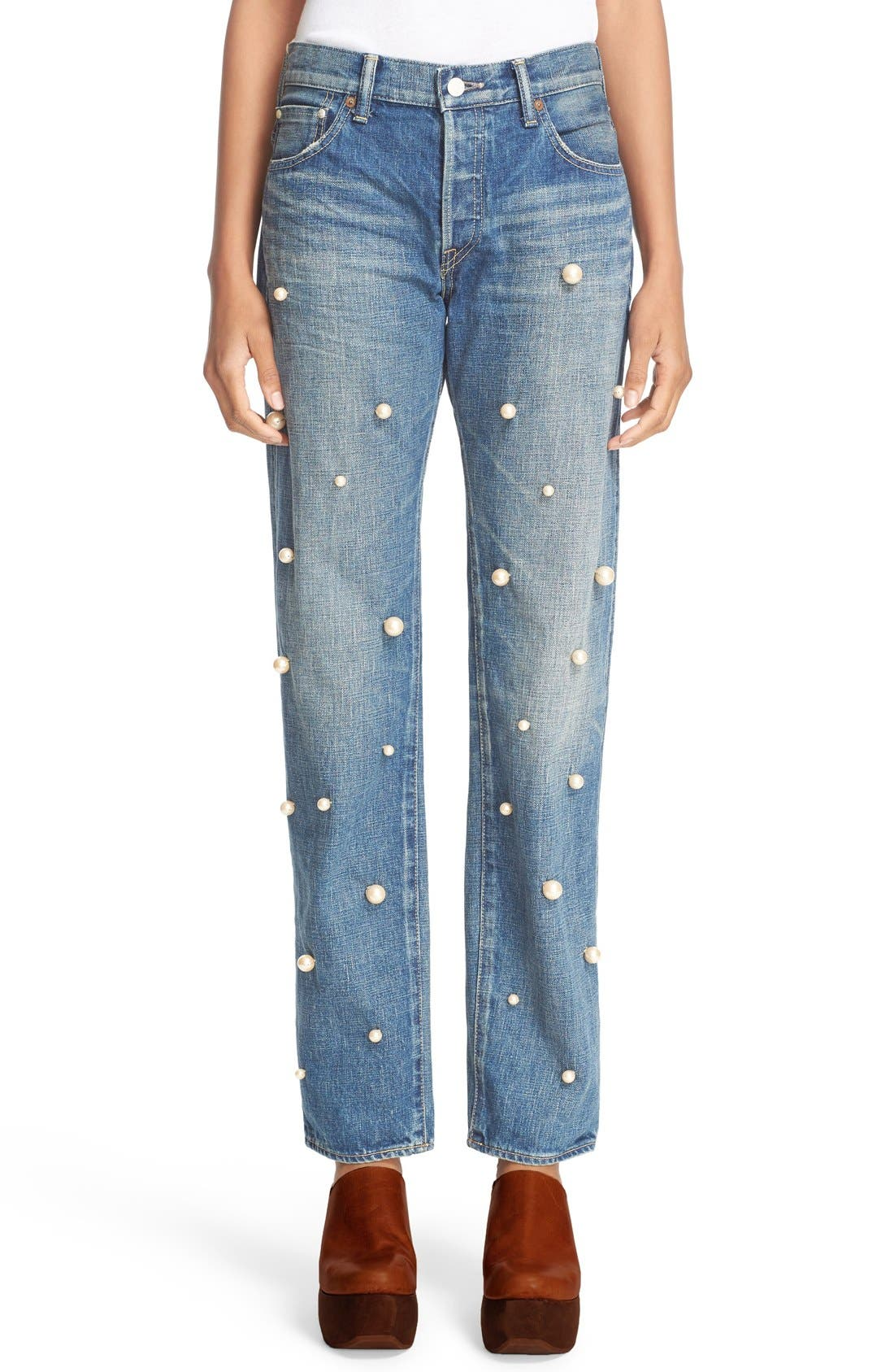 Imitation Pearl Embellished Jeans,                         Main,                         color, 101