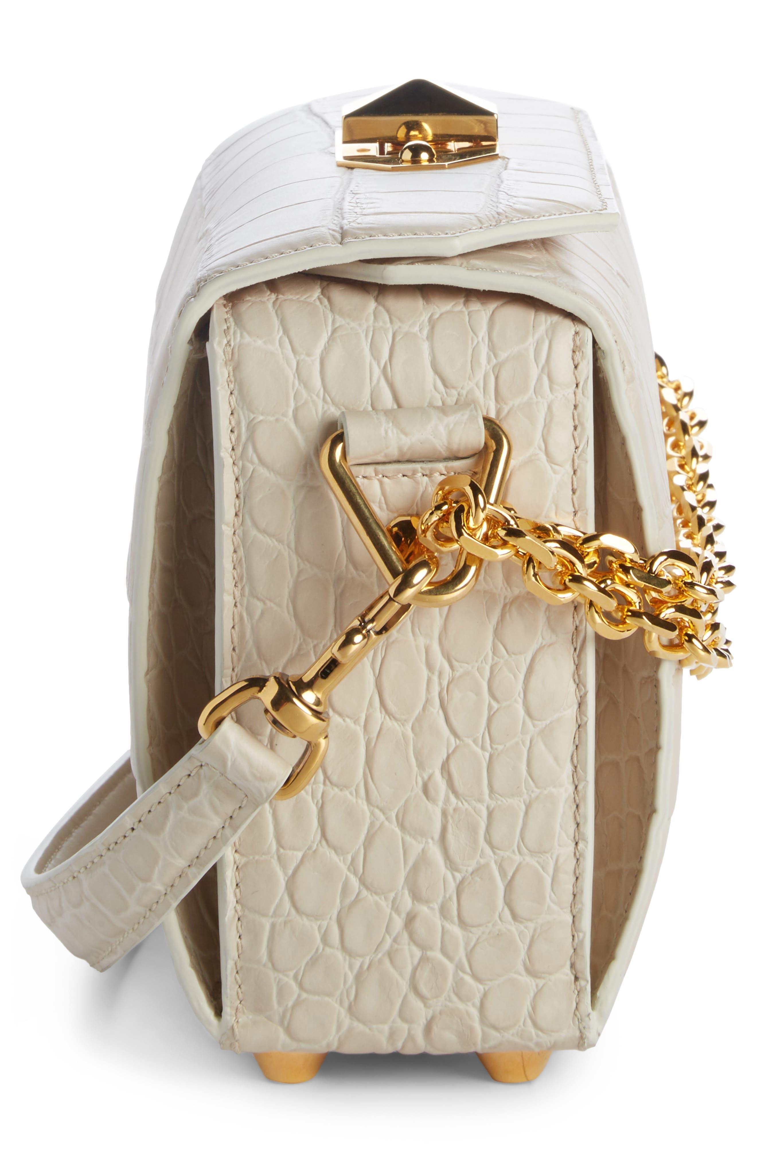 Box Bag 19 Croc Embossed Leather Bag,                             Alternate thumbnail 6, color,