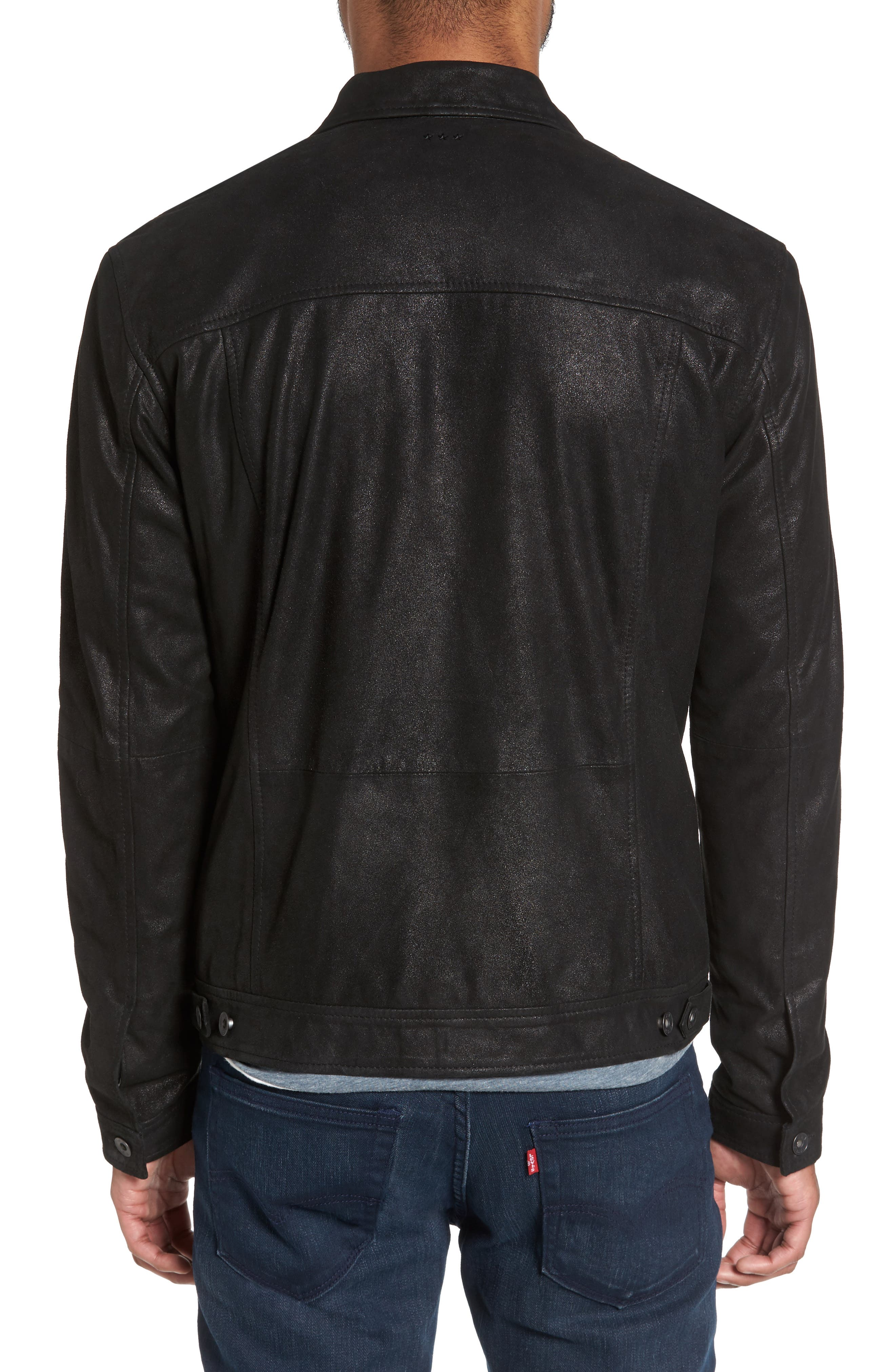 Leather Trucker Jacket,                             Alternate thumbnail 2, color,                             001