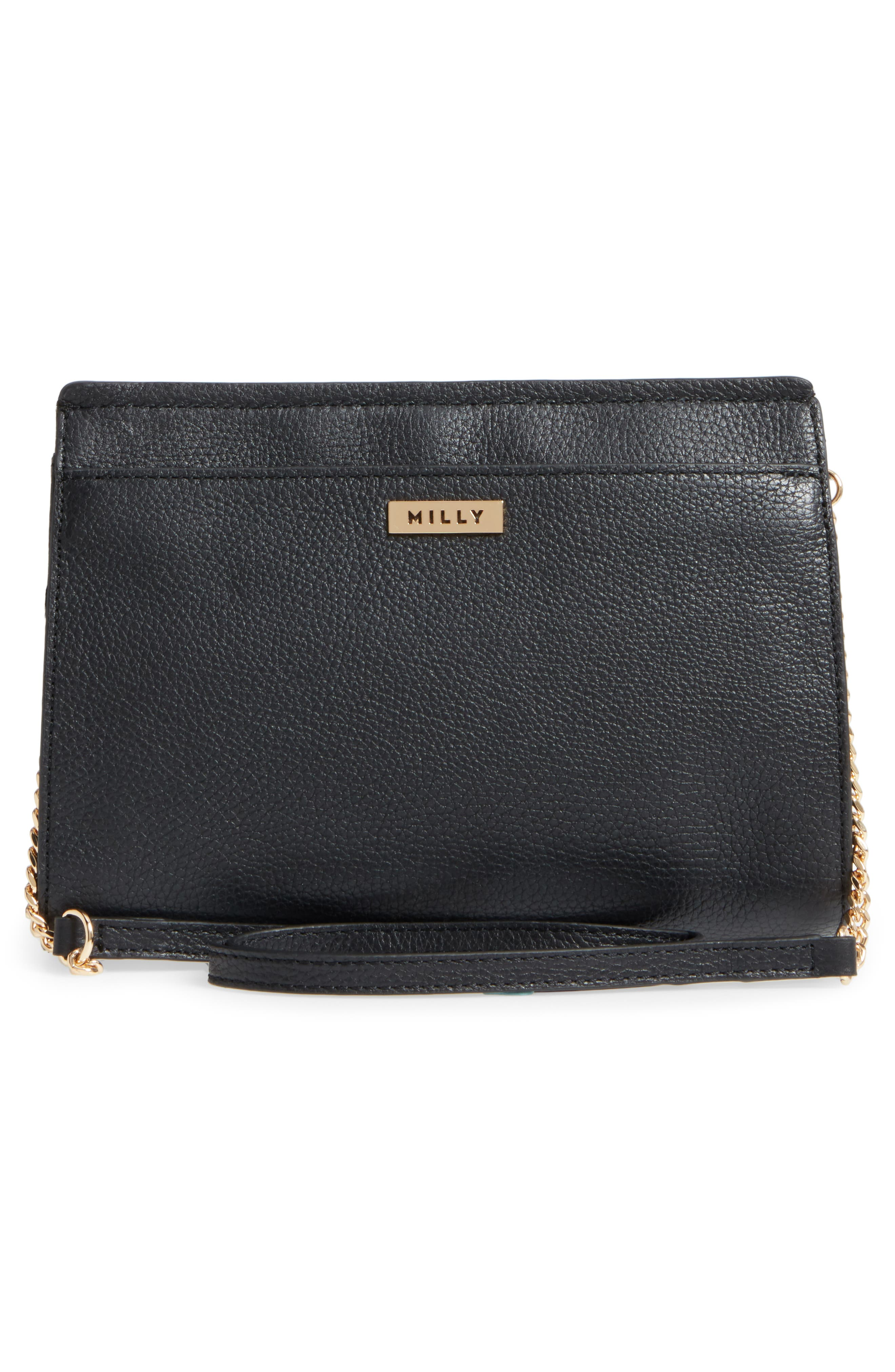 Astor Pebbled Leather Flap Clutch,                             Alternate thumbnail 9, color,